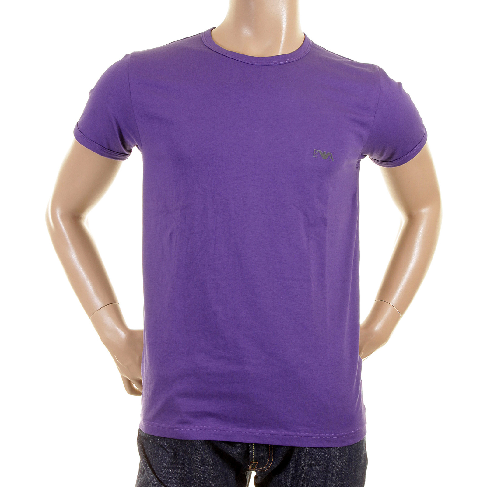 emporio armani t shirts violet crew neck t shirt 110853 2p540 eam0317 at togged clothing. Black Bedroom Furniture Sets. Home Design Ideas