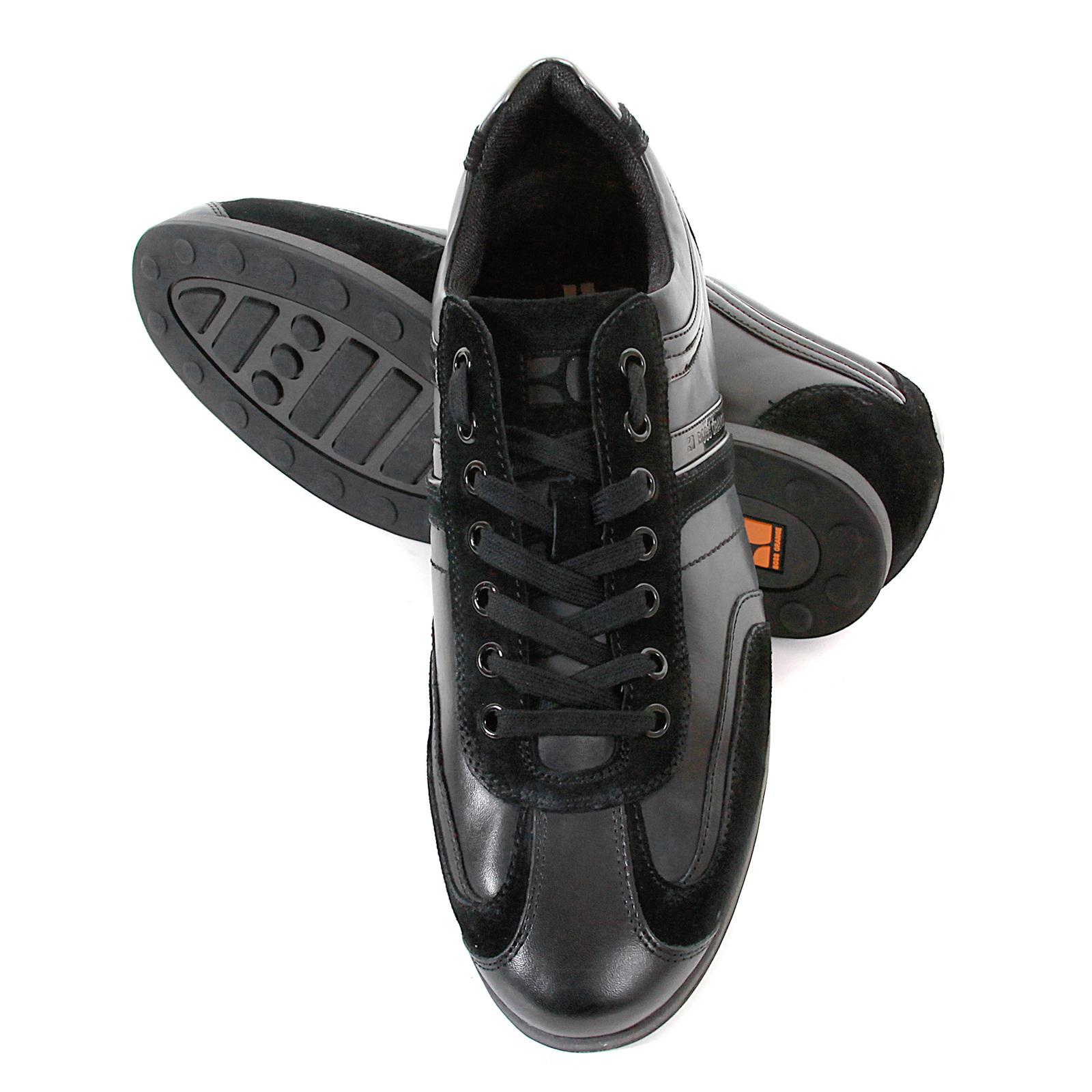 boss orange silvion 50235185 black leather hugo boss sneaker shoes. Black Bedroom Furniture Sets. Home Design Ideas