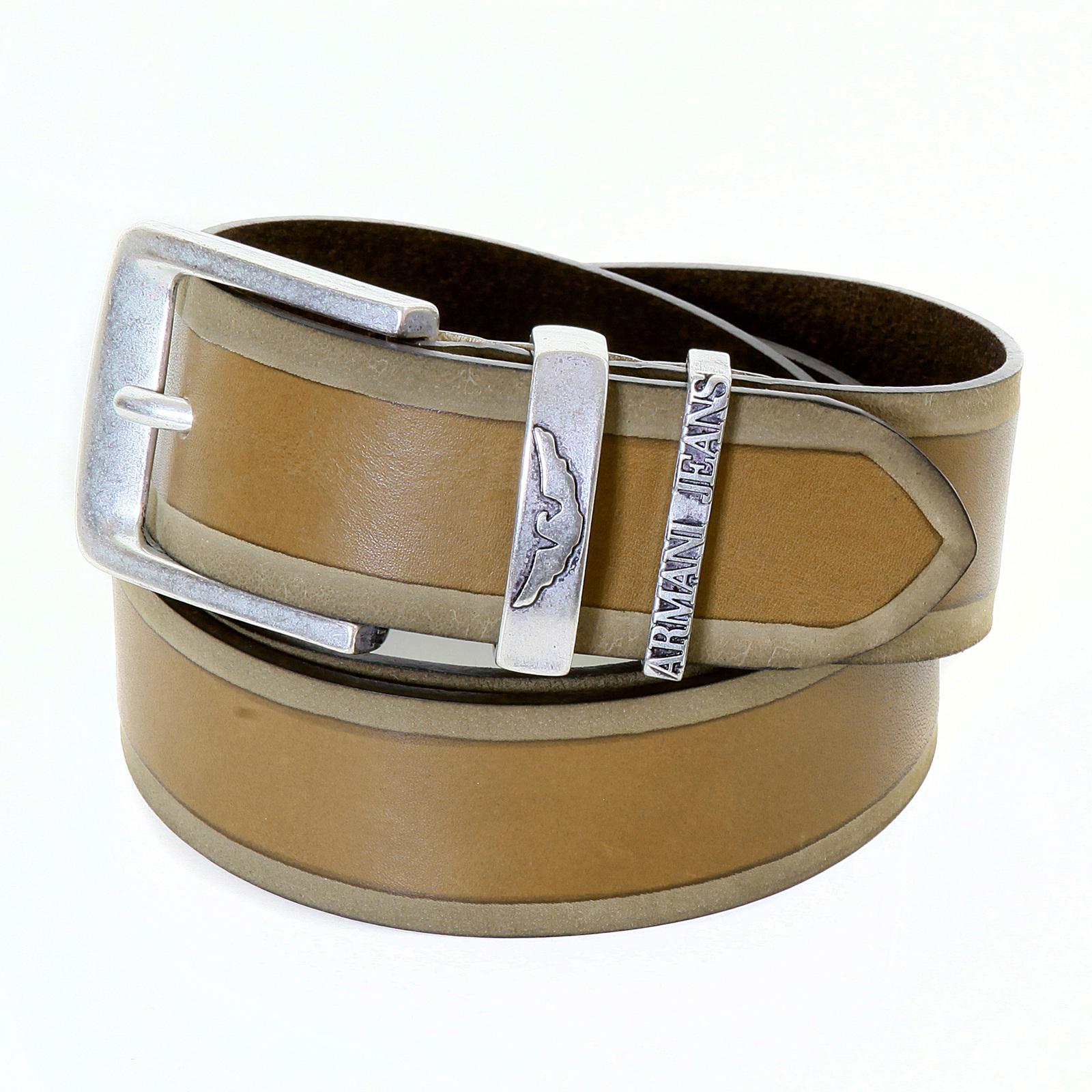 Armani Jeans mens brown leather U6177 V2 casual belt ...