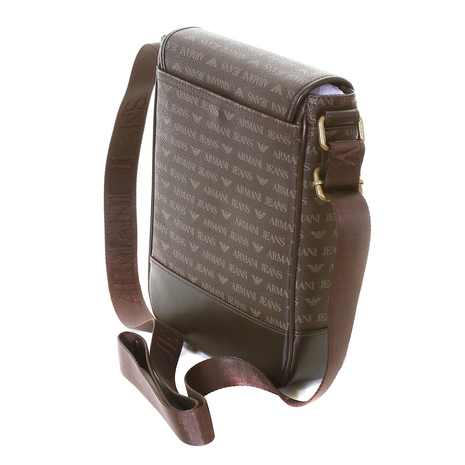 e453e7db15b6 Armani Jeans mens brown 06293 J4 logo messenger bag AJM2474 at ...