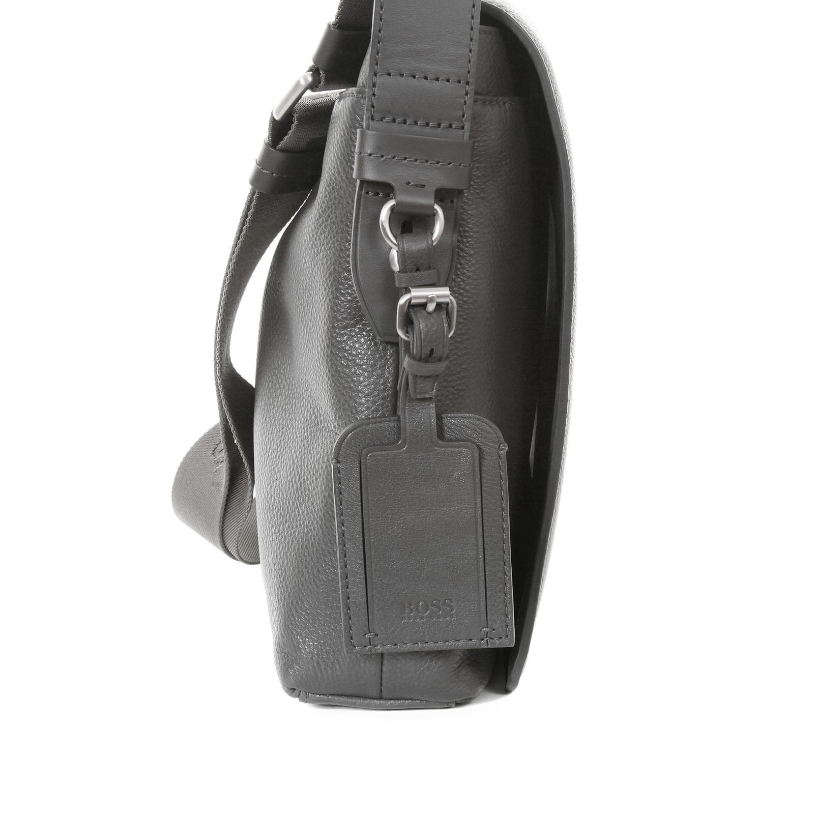 a995eaf2a2 Hugo Boss Black label mens grey leather 50205405 Bekon reporter bag BOSS0973