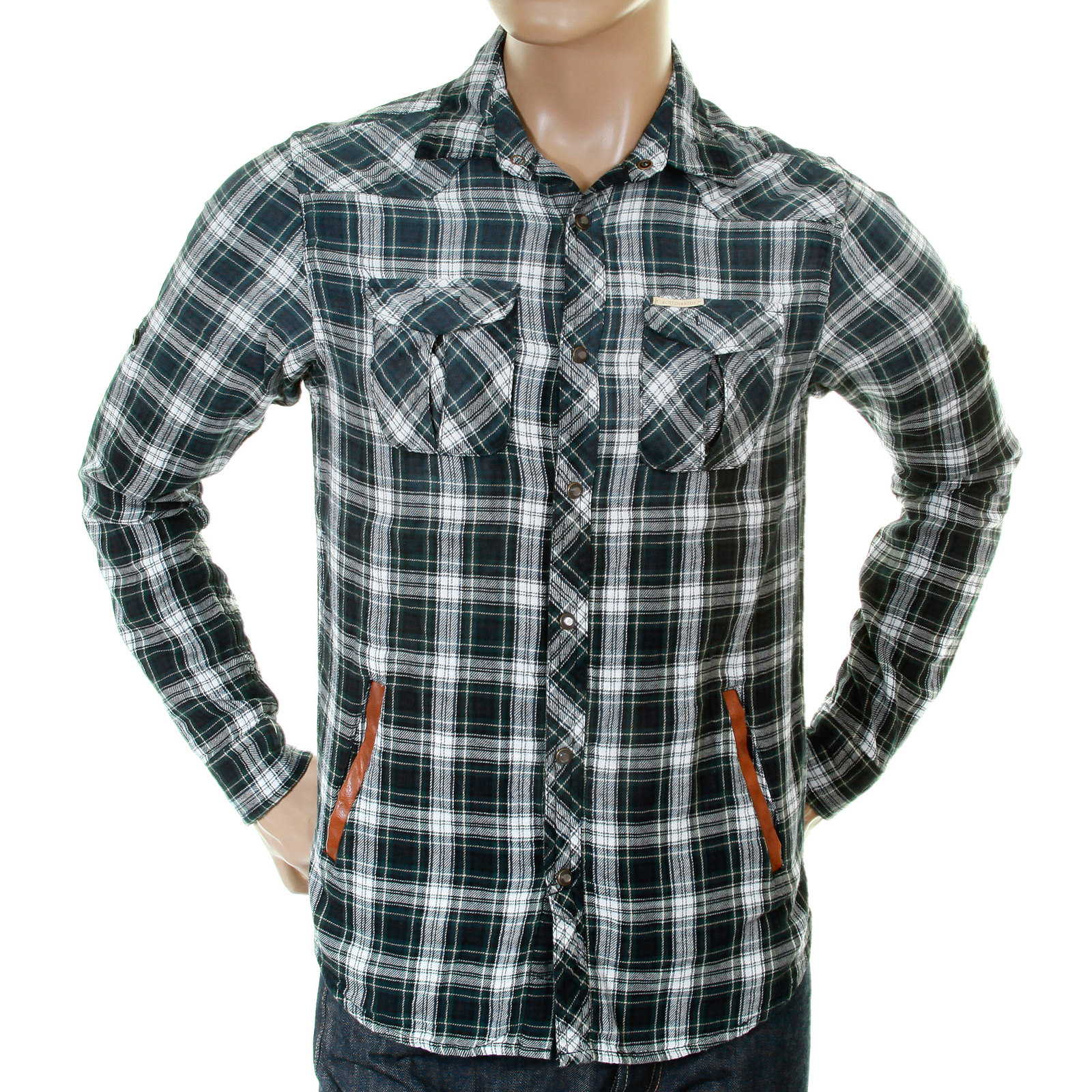 scotch soda mens green navy and white check 1204 09 20042 worker shirt scot1869 at togged clothing. Black Bedroom Furniture Sets. Home Design Ideas
