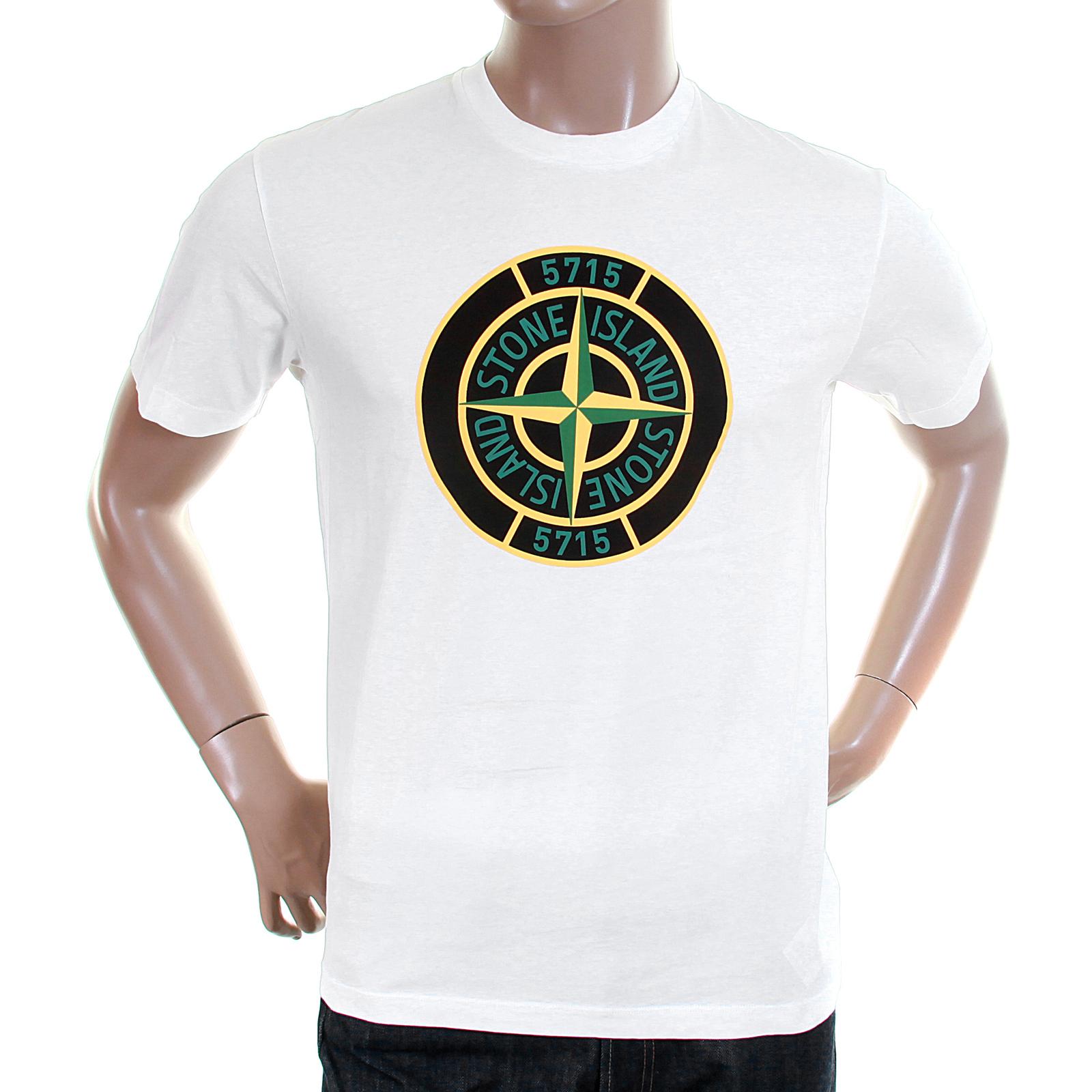 Stone island mens natural 561520181 compass logo tee shirt for My logo on a shirt