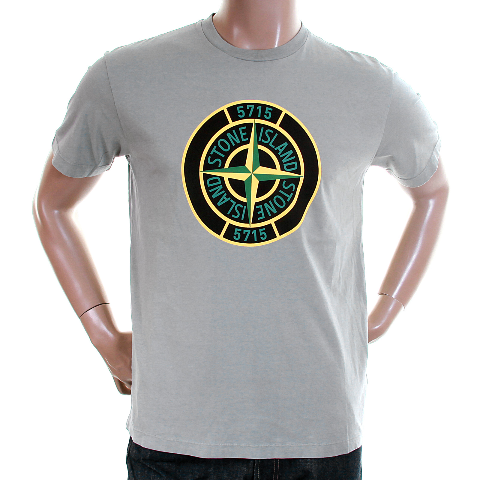Stone island mens grey 561520181 compass logo tee shirt for Shirts with small logos