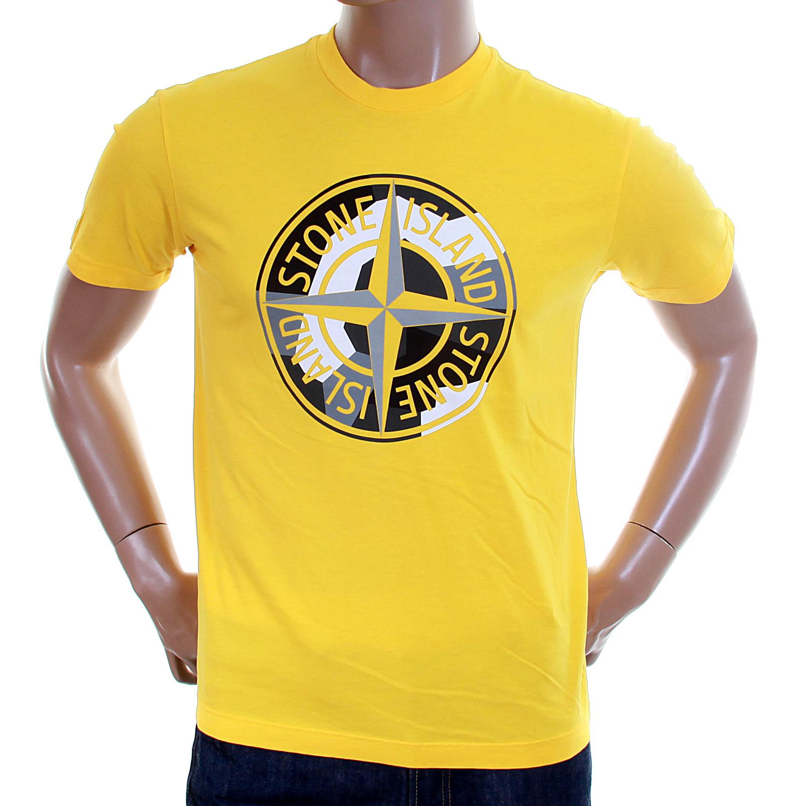Stone island mens yellow 571520183 compass logo tee shirt for My logo on a shirt