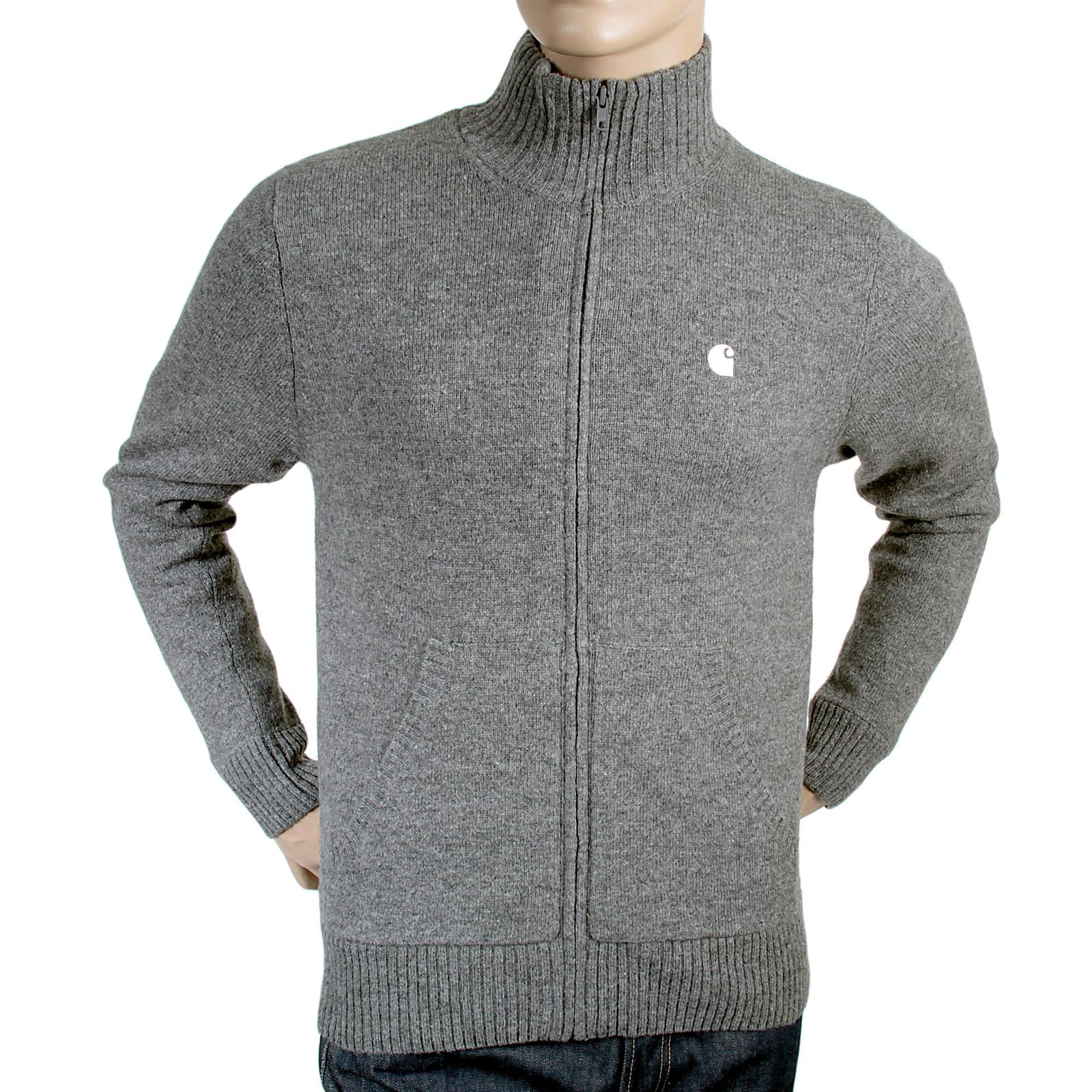 Carhartt mens grey heather 1002529 graduate zipped knitwear jacket CARH3199