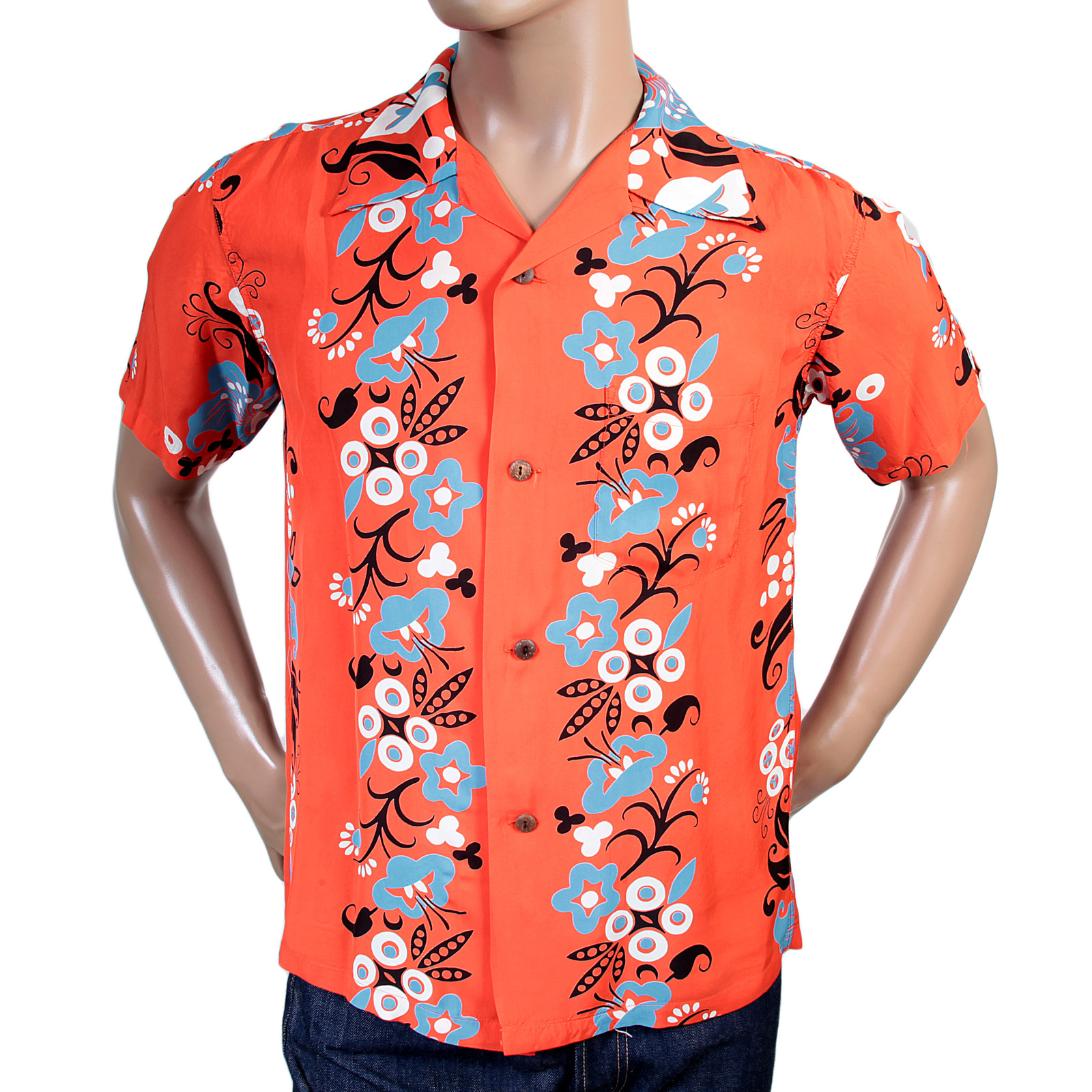 SunSurf Hawaiian Floral Print Shirt with Cuban Collar