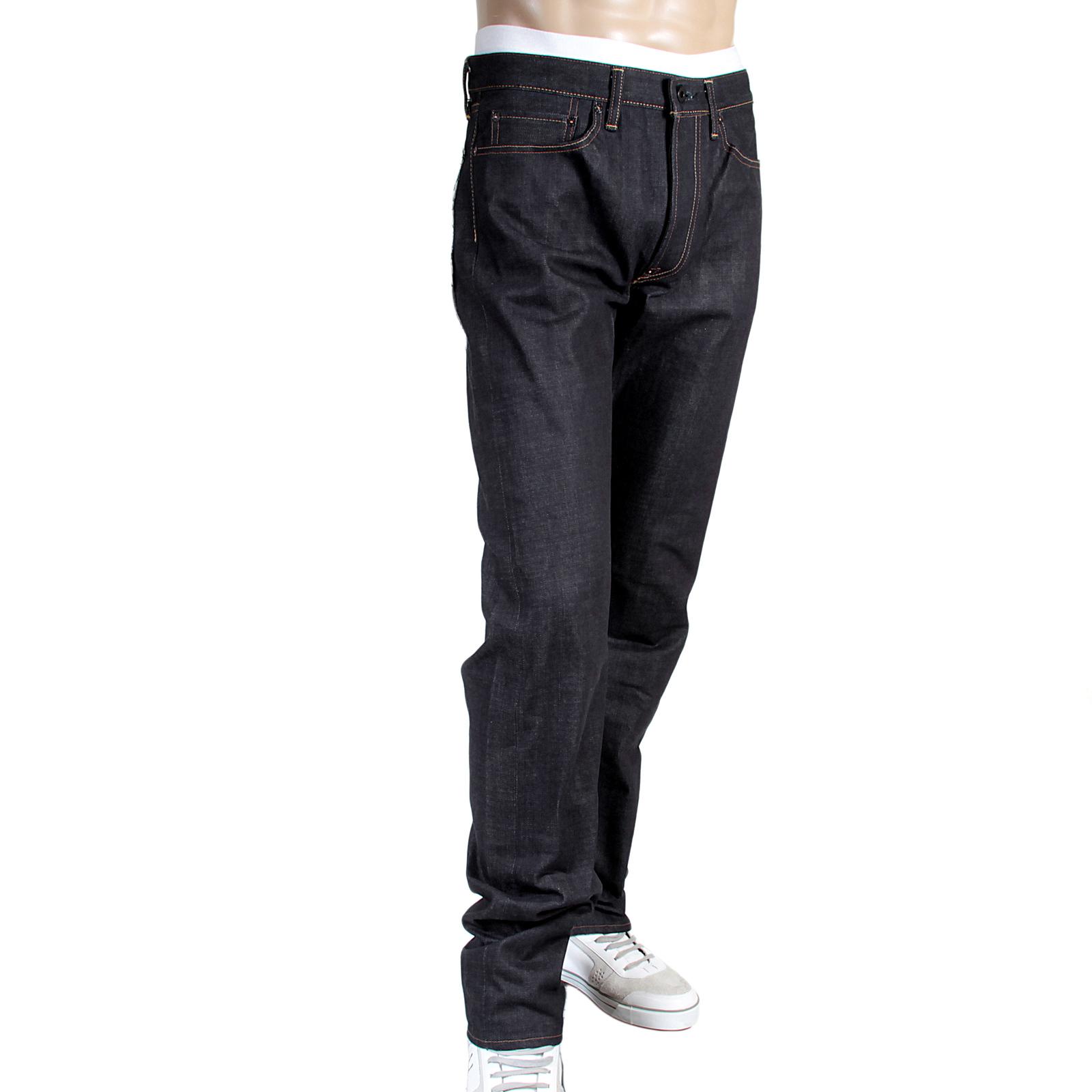 Embroidered Indigo Slim Fit Raw Selvedge Denim Jeans