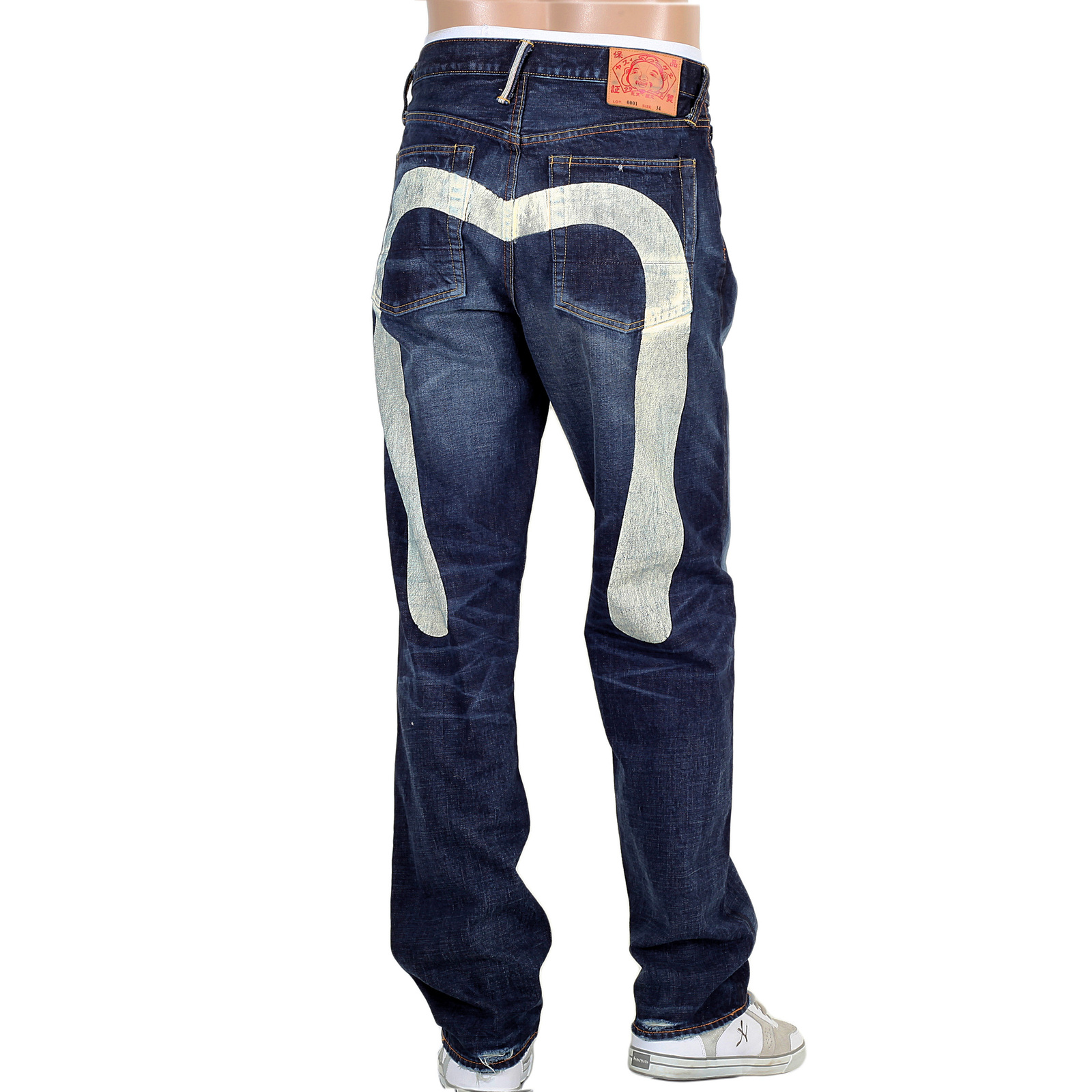 76c8a335d182 Japan Full Ecru Gull Jeans – White. Evisu Mens Stone Washed Vintage Cut  Selvedge Denim Jeans with Large Ecru Painted Diacock on Back