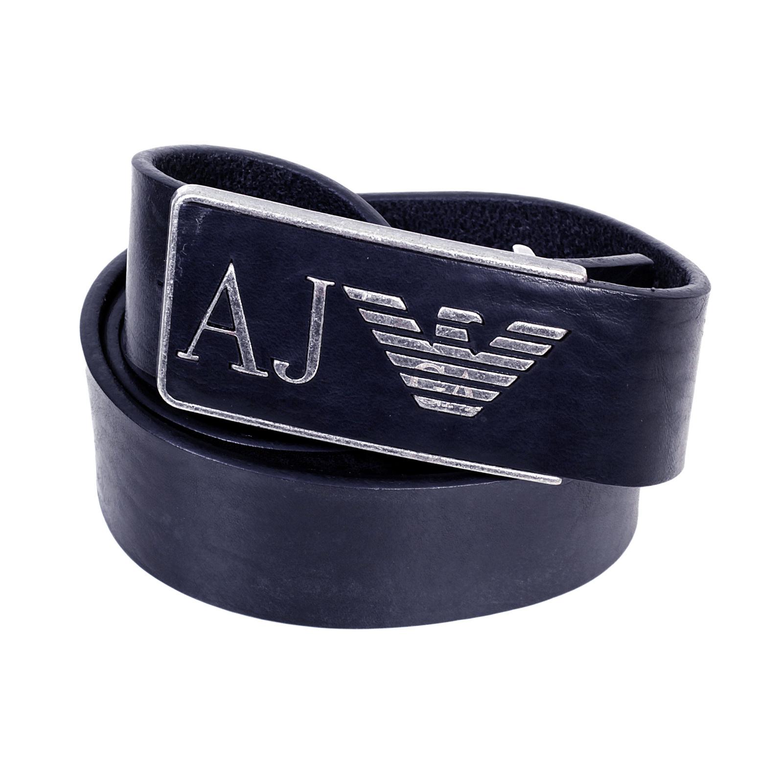 armani mens navy rectangular buckle leather belt ajm4694