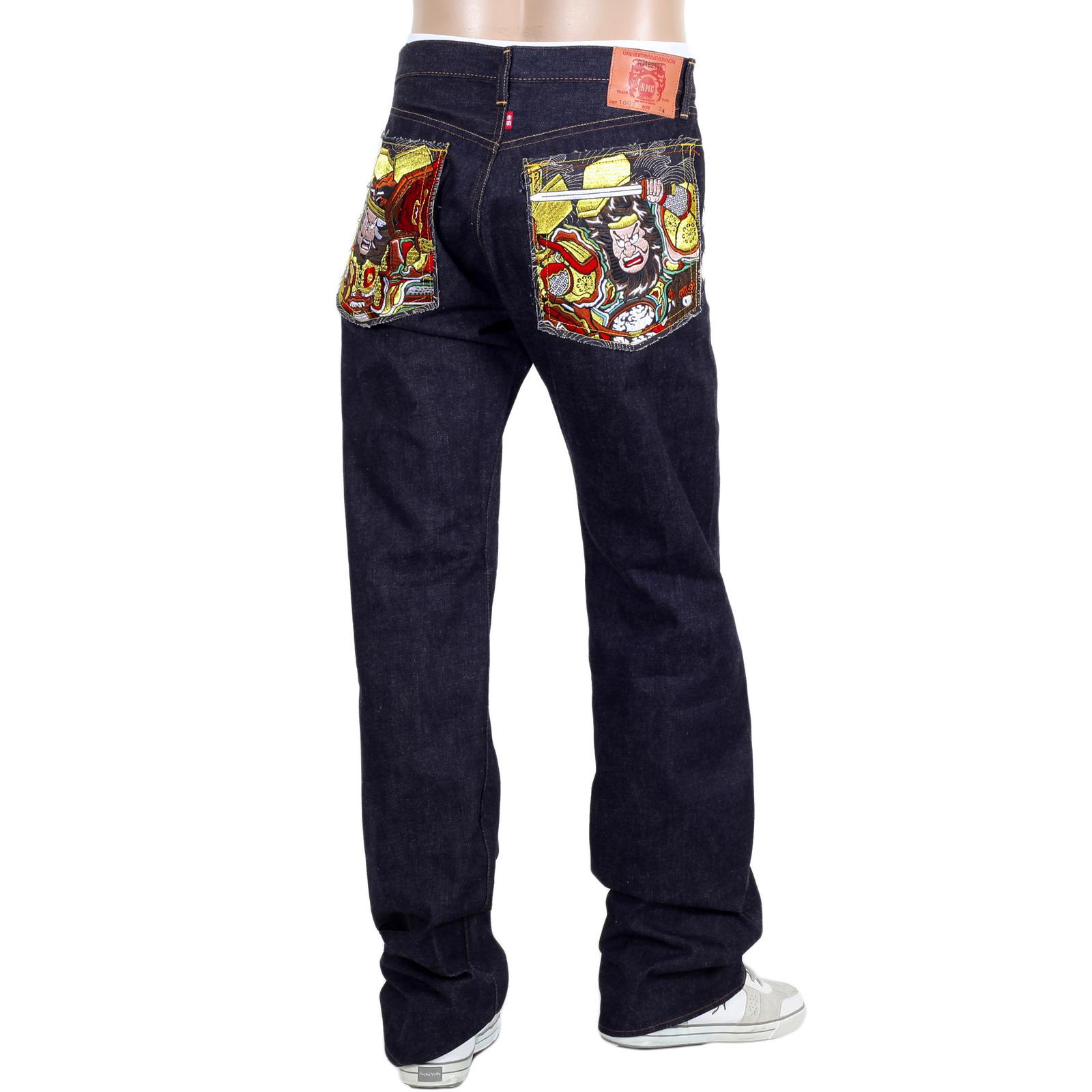 70287be6c7a RMC Martin Ksohoh Indigo Gold Embroidered Warriors Slim Model Japanese  Selvedge Denim Jeans RMC1956