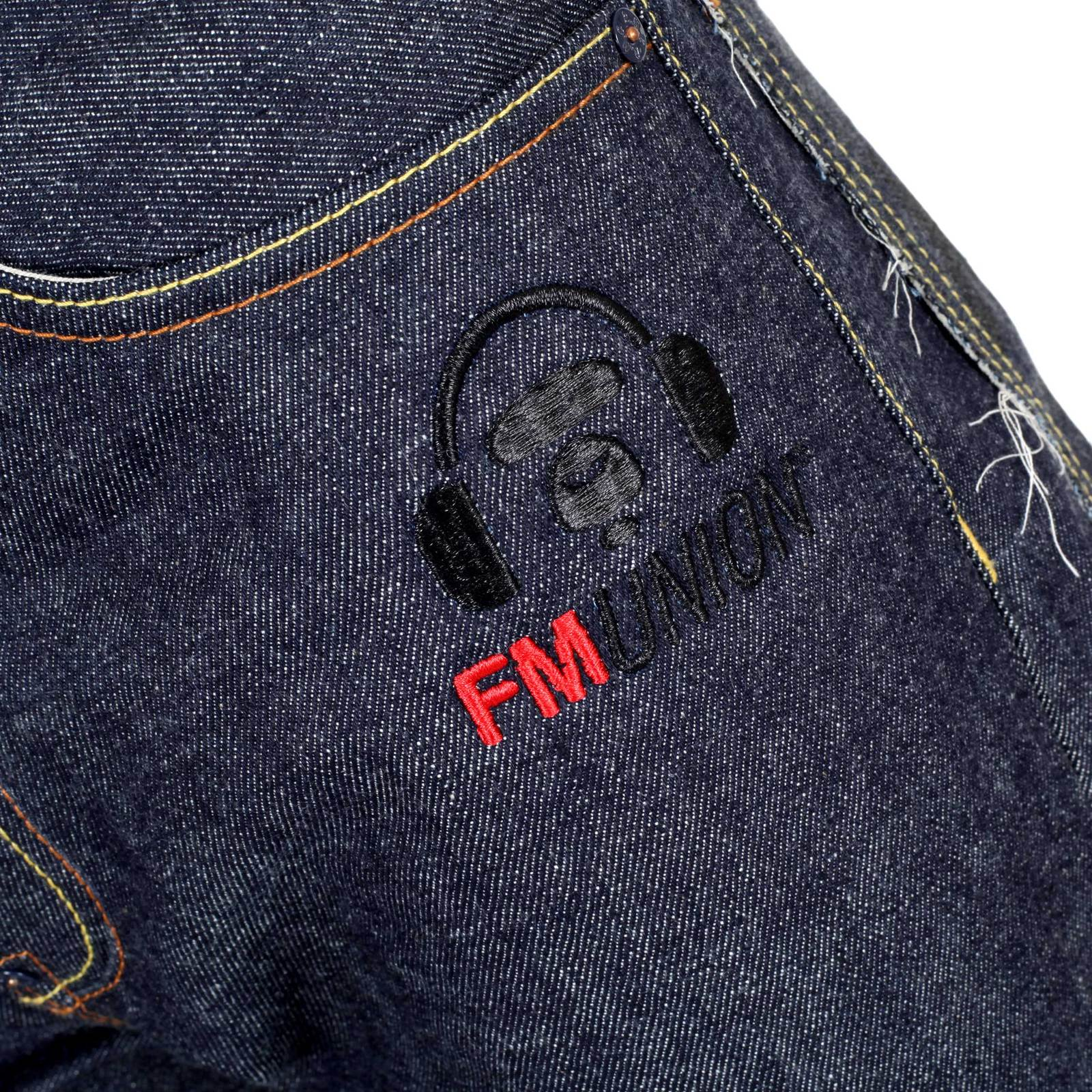 Buy excellent red monkey embroidered raw denim jeans