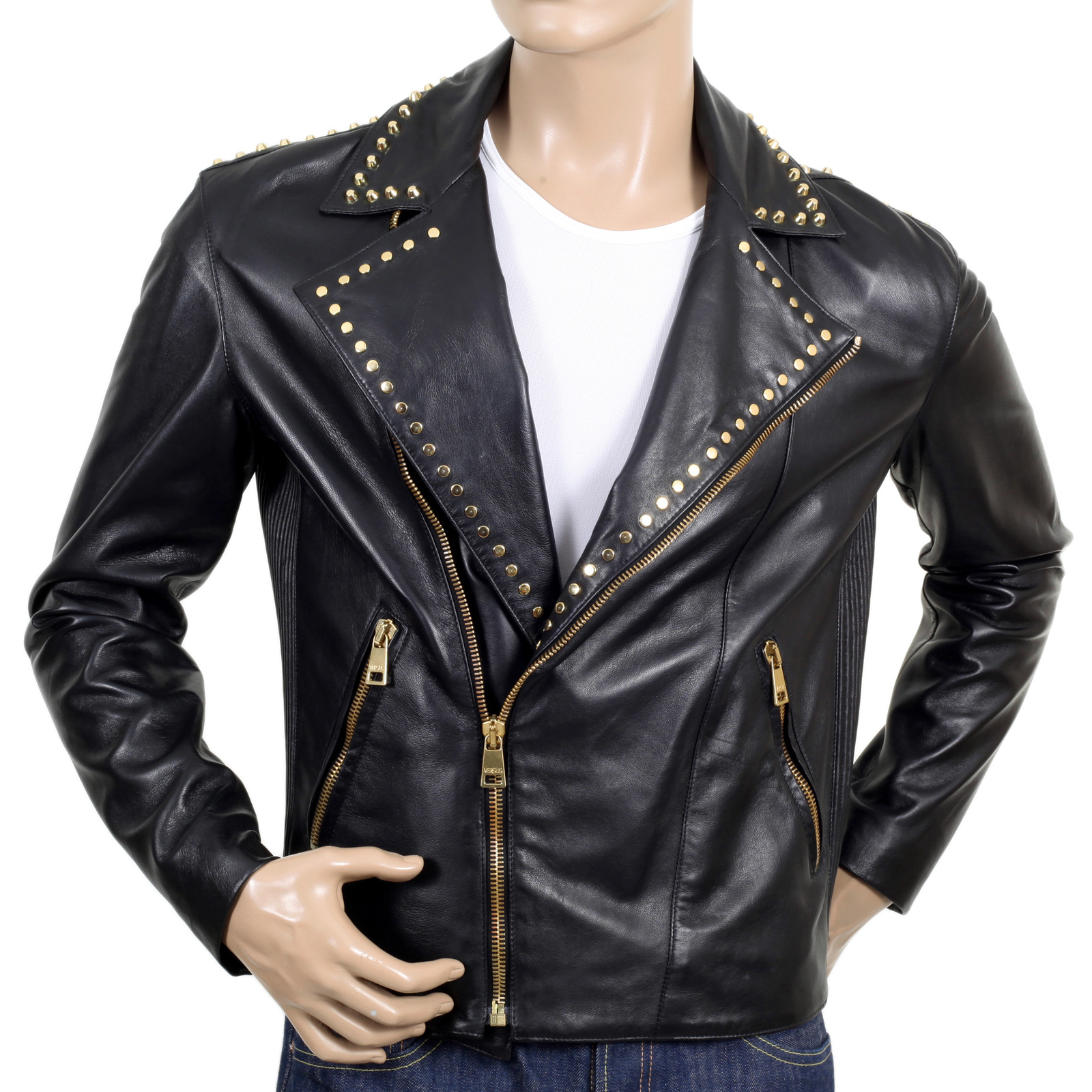 Shop Versace Mens Leather Biker Jacket Online
