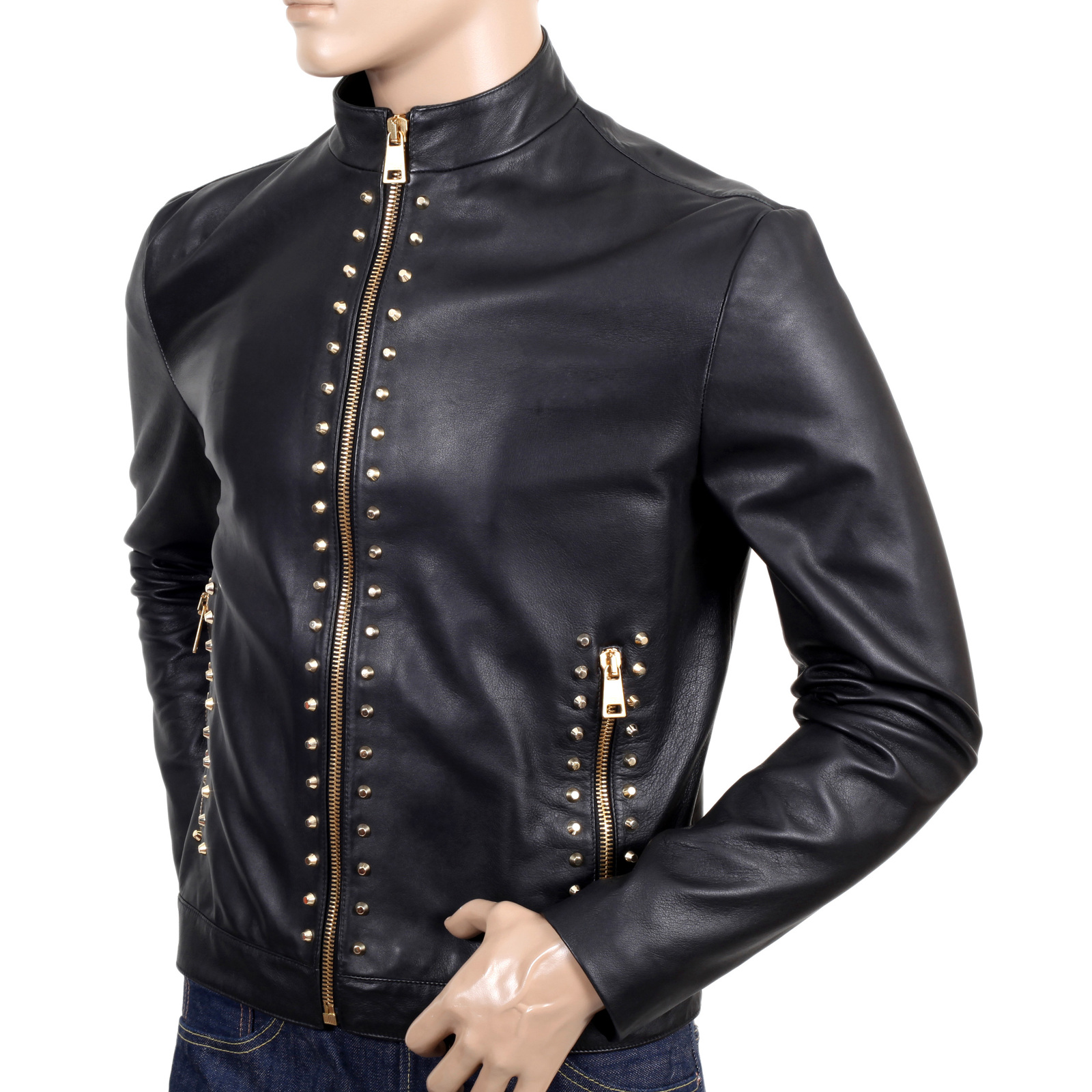 Buy Versace Mens Black Studded Leather Jacket Togged