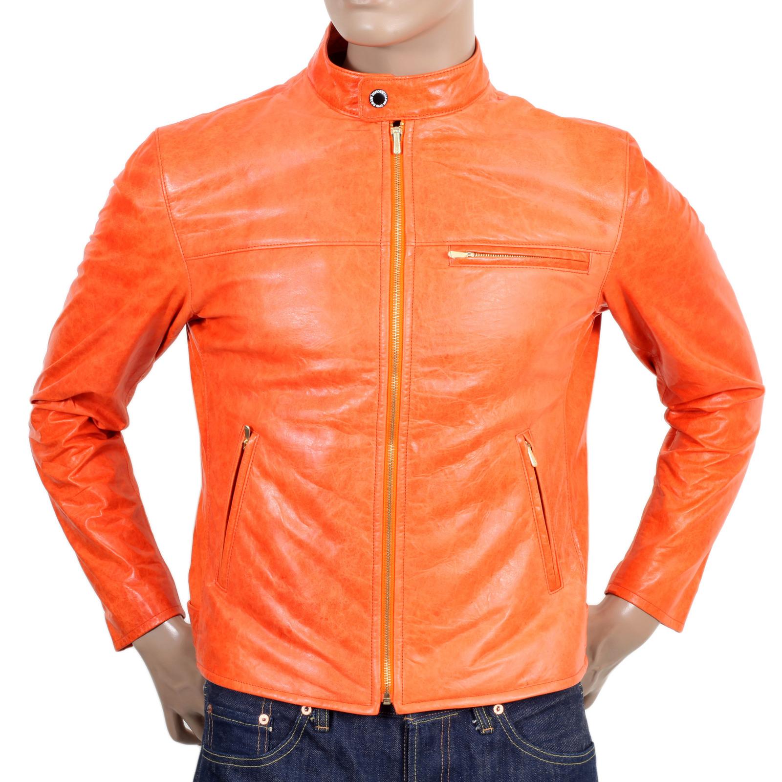 Orange leather motorcycle jacket