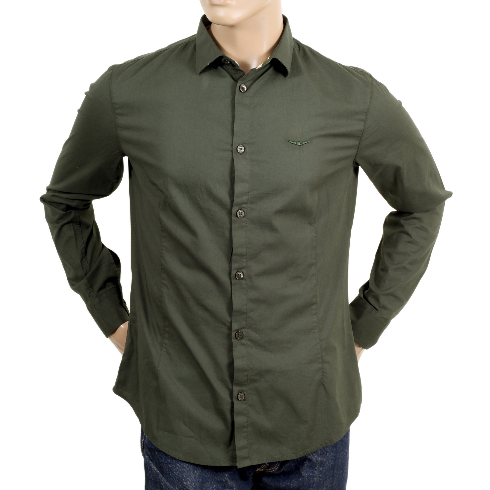 492feb08 Shop Armani Jeans Slim fit green shirt | togged