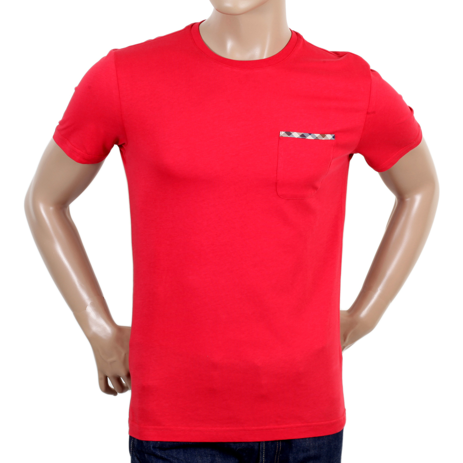 Aquascutum Mens Red Crew Neck t shirt AQUA4825