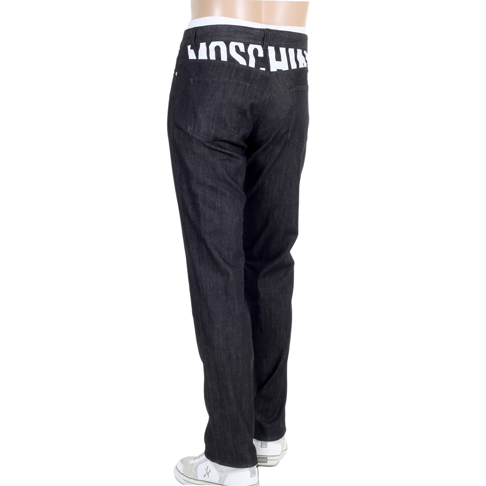 shop now black jeans with white moschino logo at togged