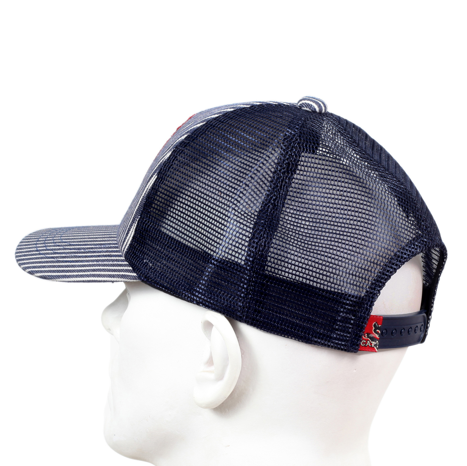 Navy Mesh Back Hickory Wide Striped Truckers Cap for Men by Cats Paw  CANE5732 8f64fd07646