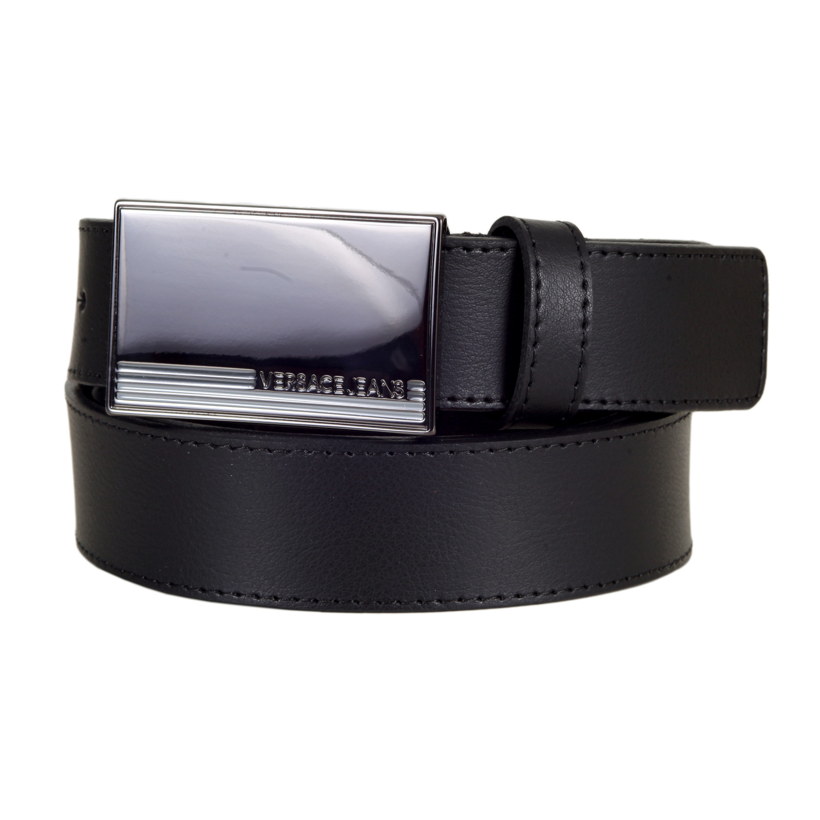 9cd16f18 Mens Black Leather Belt with Rectangular Gunmetal Colour Logo Embossed  Metal Pin Buckle by Versace Jeans VERS5525