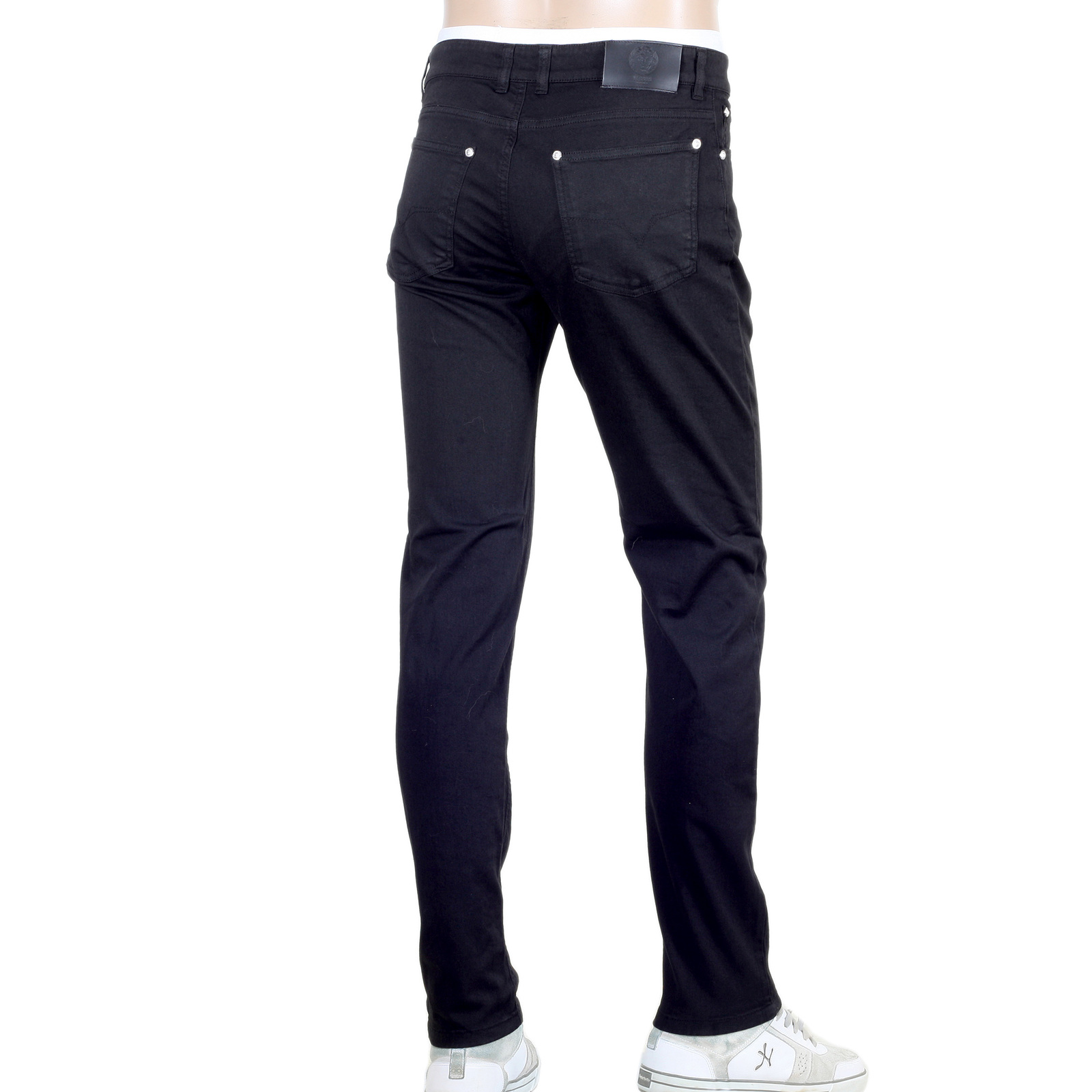 Mens Black Jeans with Silver Lion Studs by Versace UK