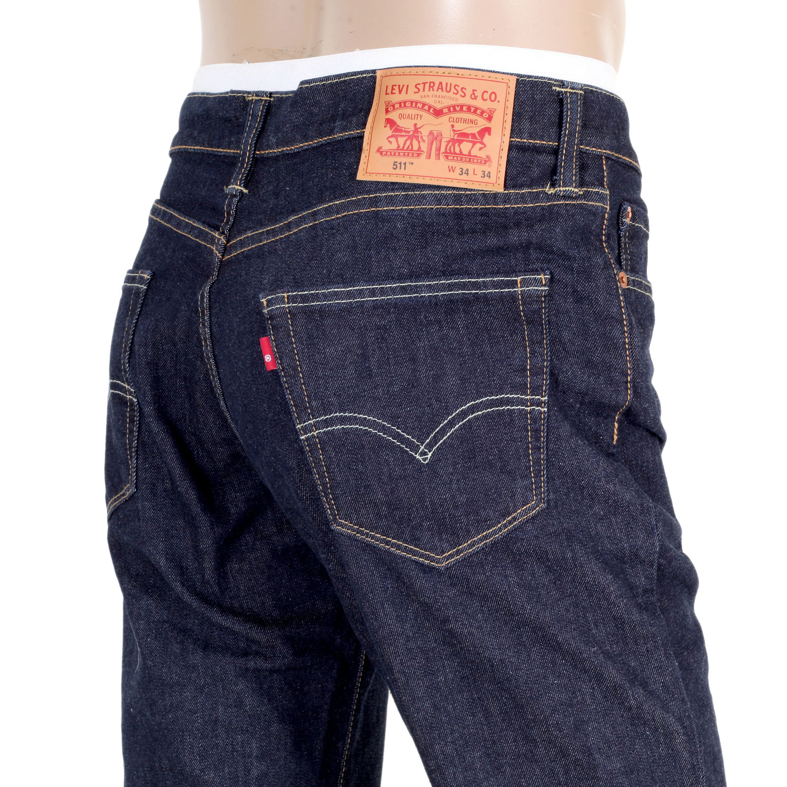Mens Dark Blue Levis 511 Slim Fit Jeans with Low Waist