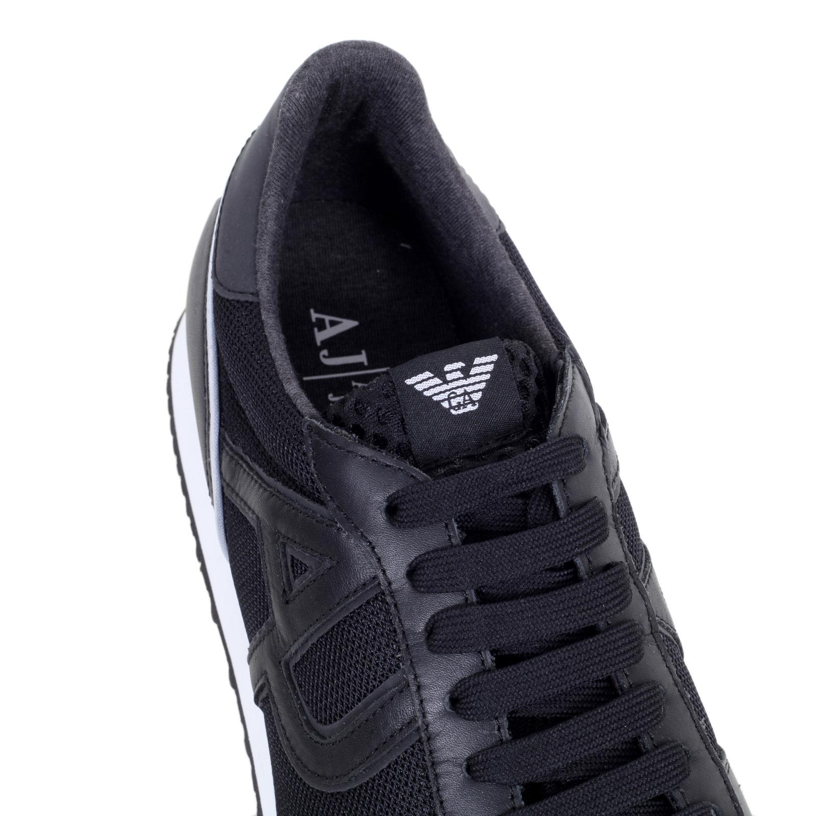 Leather Sneakers Black Top Low Buy Nylon Armani Jeans rBoCxEQeWd