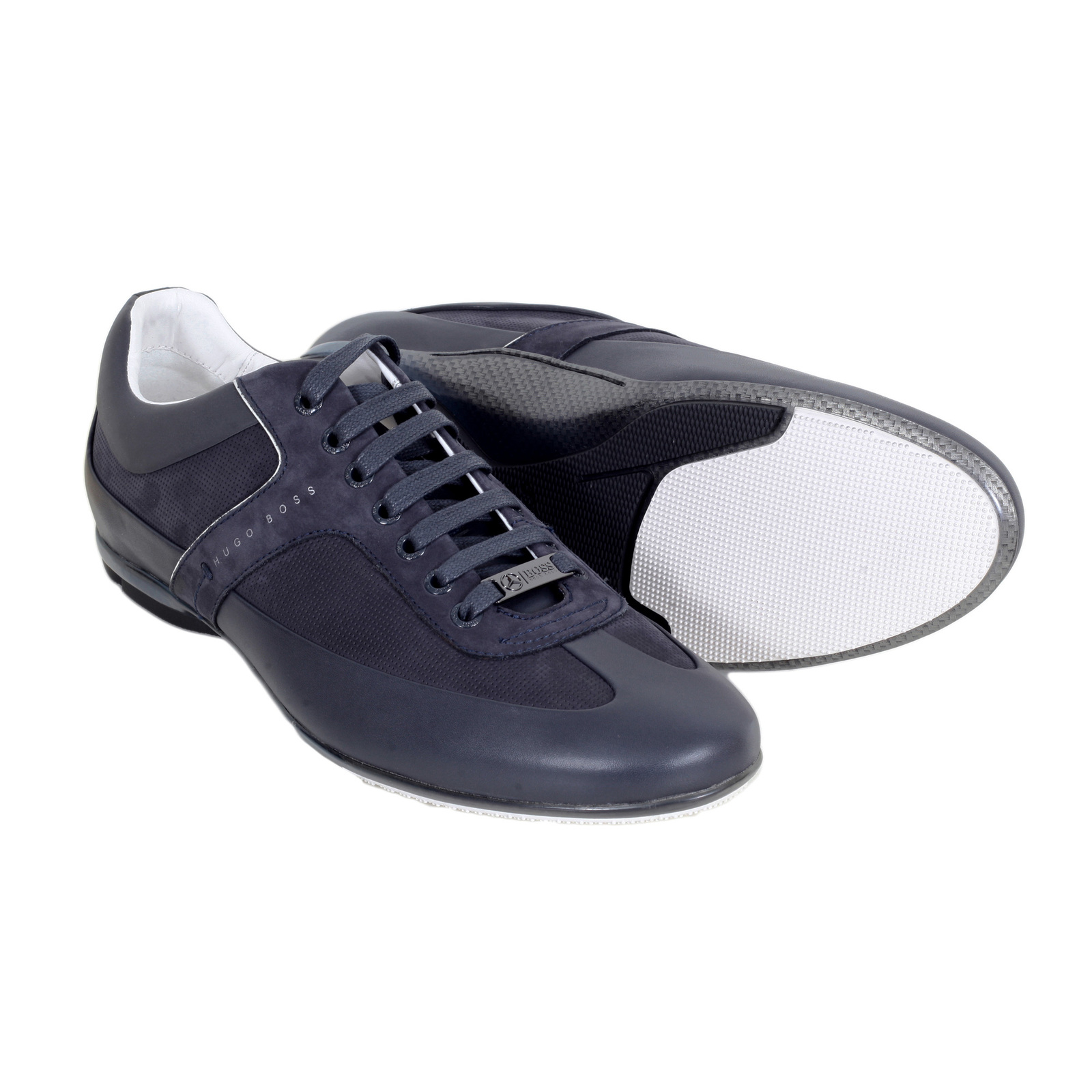 0bfd49011 Hugo Boss Black Merceso Mercedes Leather Trainers in Dark Blue with Leather  and Suede Trim BOSS5844