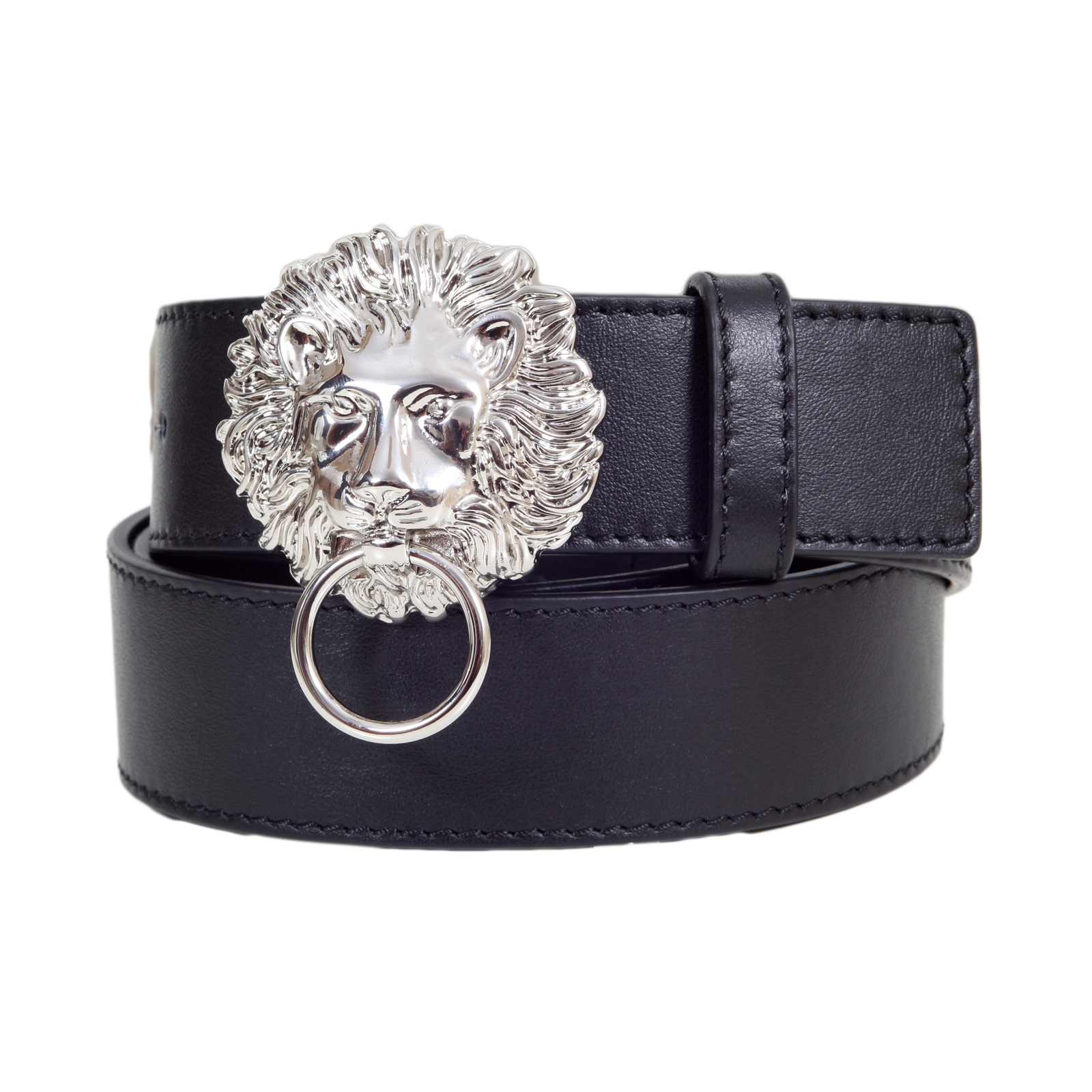 42b486cf09a ... order versace versus black leather belt for men fcu0048 fv10 with lion  head and ring silver
