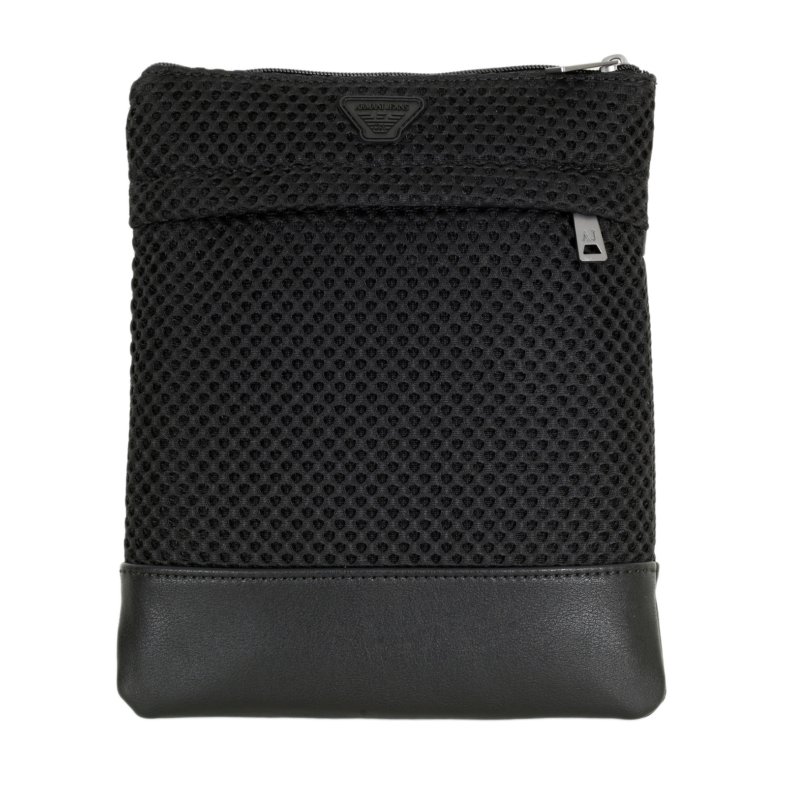 Black Messenger Bag with a Mesh Front and a Smooth Back dc4bbb1fe7dd5
