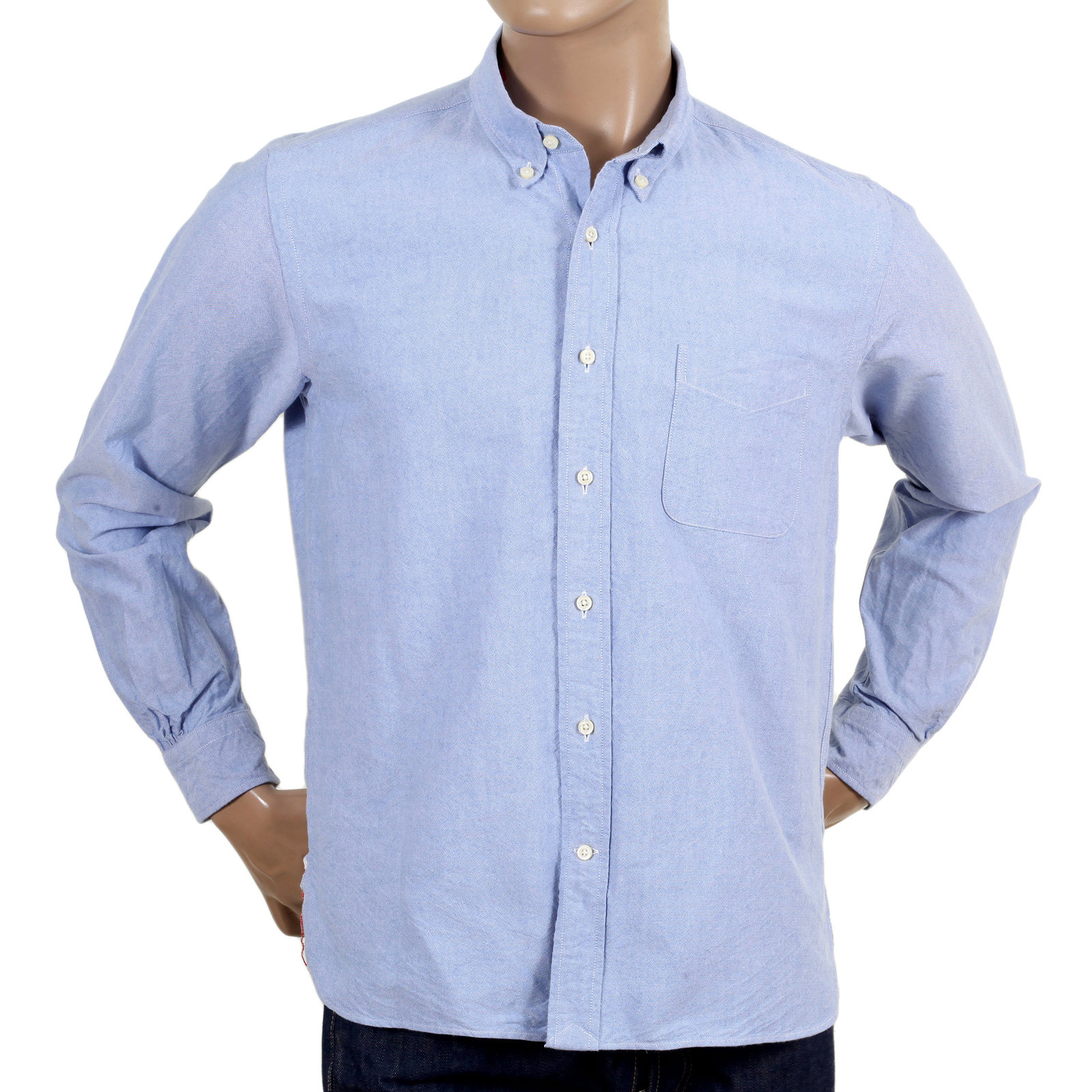 Buy oxford blue shirt for men with button down collars for Light blue button down shirt