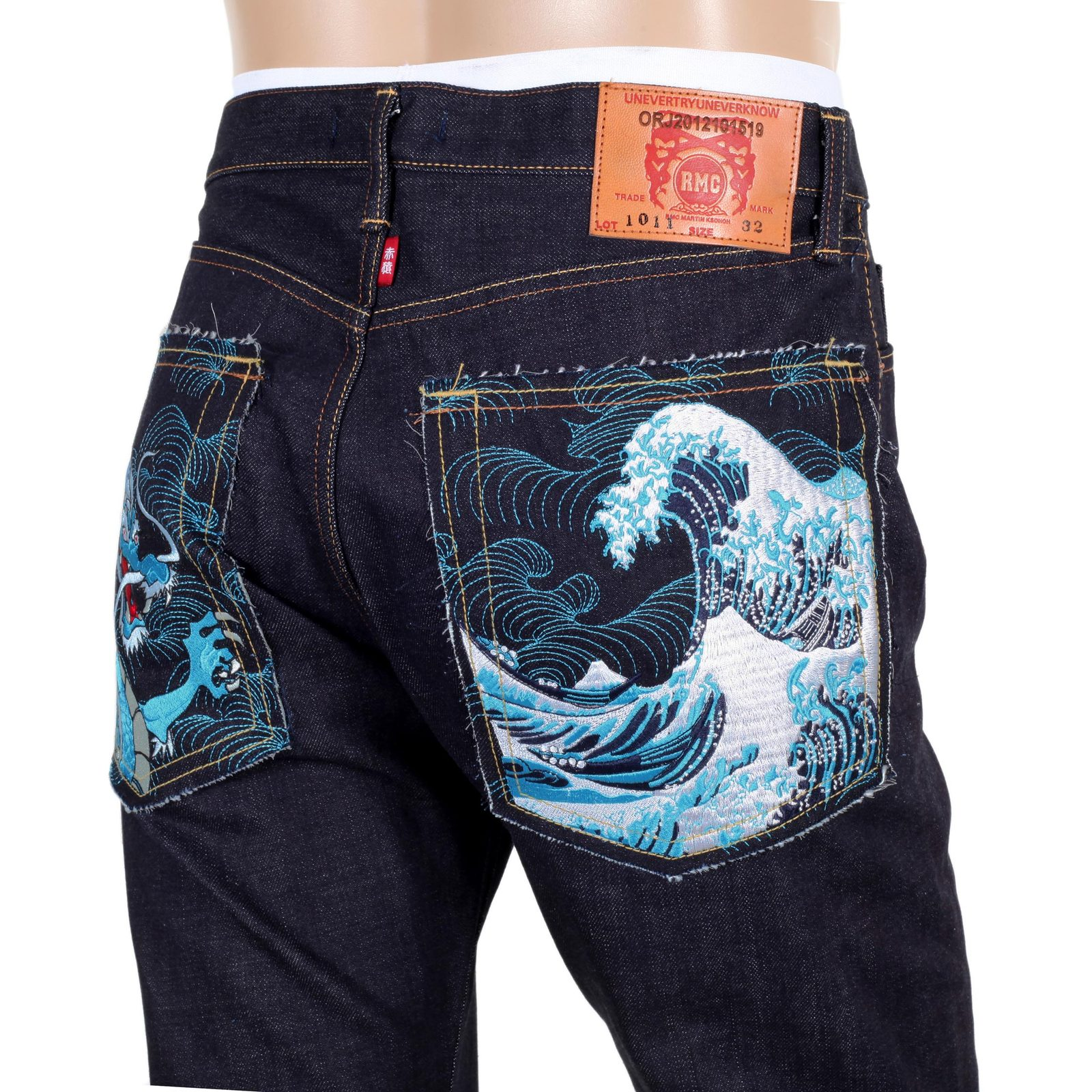 Red Monkey Slim Fit Jeans With Embroidered Back Pockets