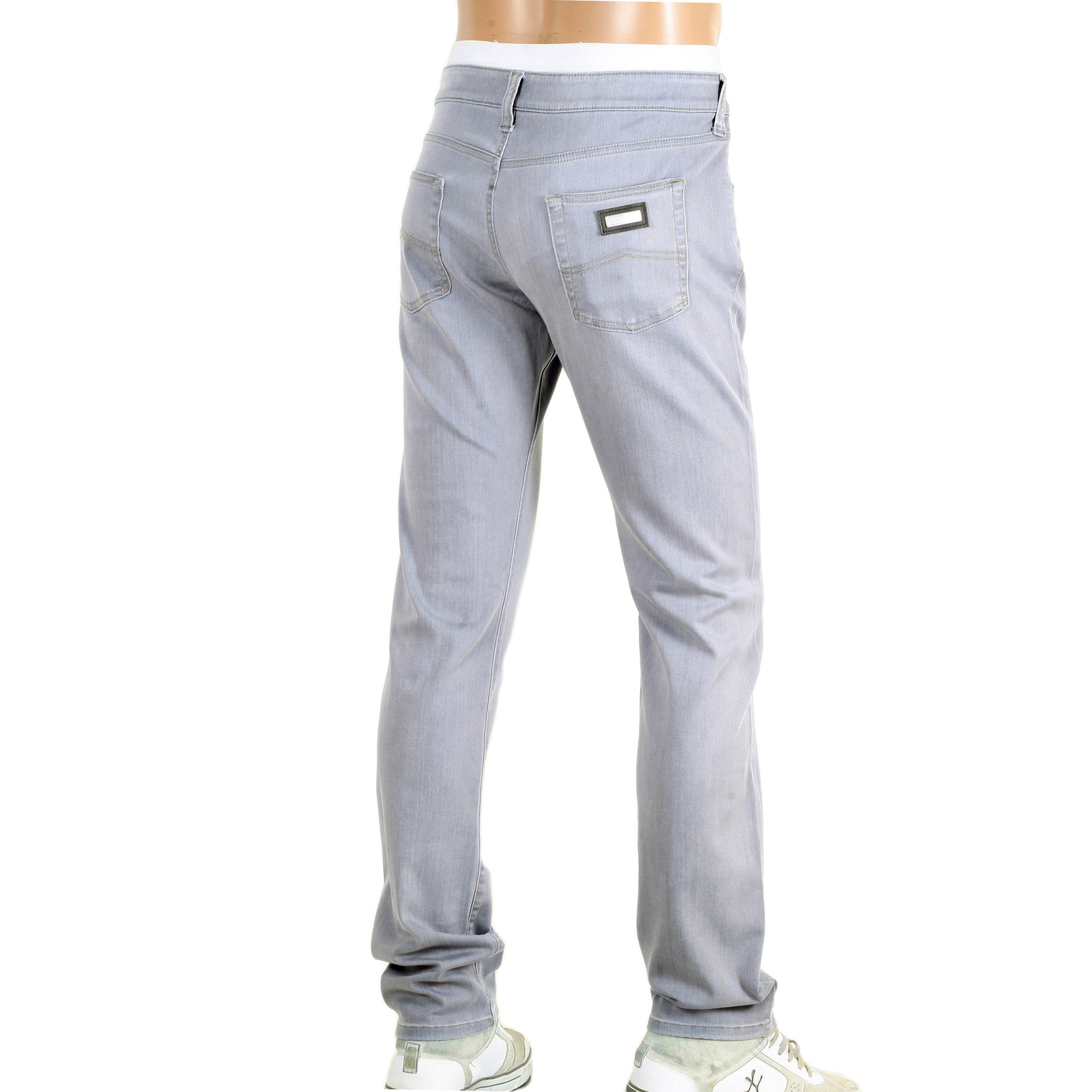 mens low rise jeans in grey by armani collezioni london. Black Bedroom Furniture Sets. Home Design Ideas