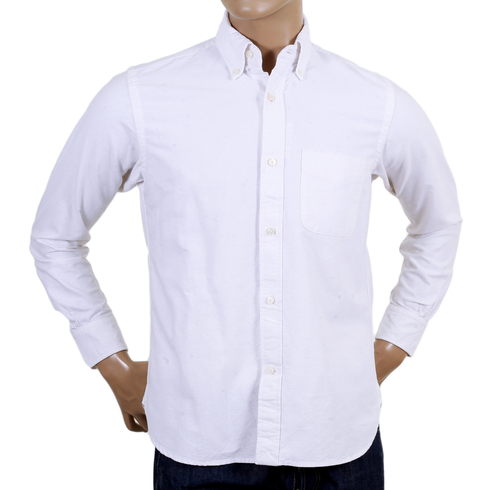 Sugar Cane White Oxford Shirt with Button Down Collar