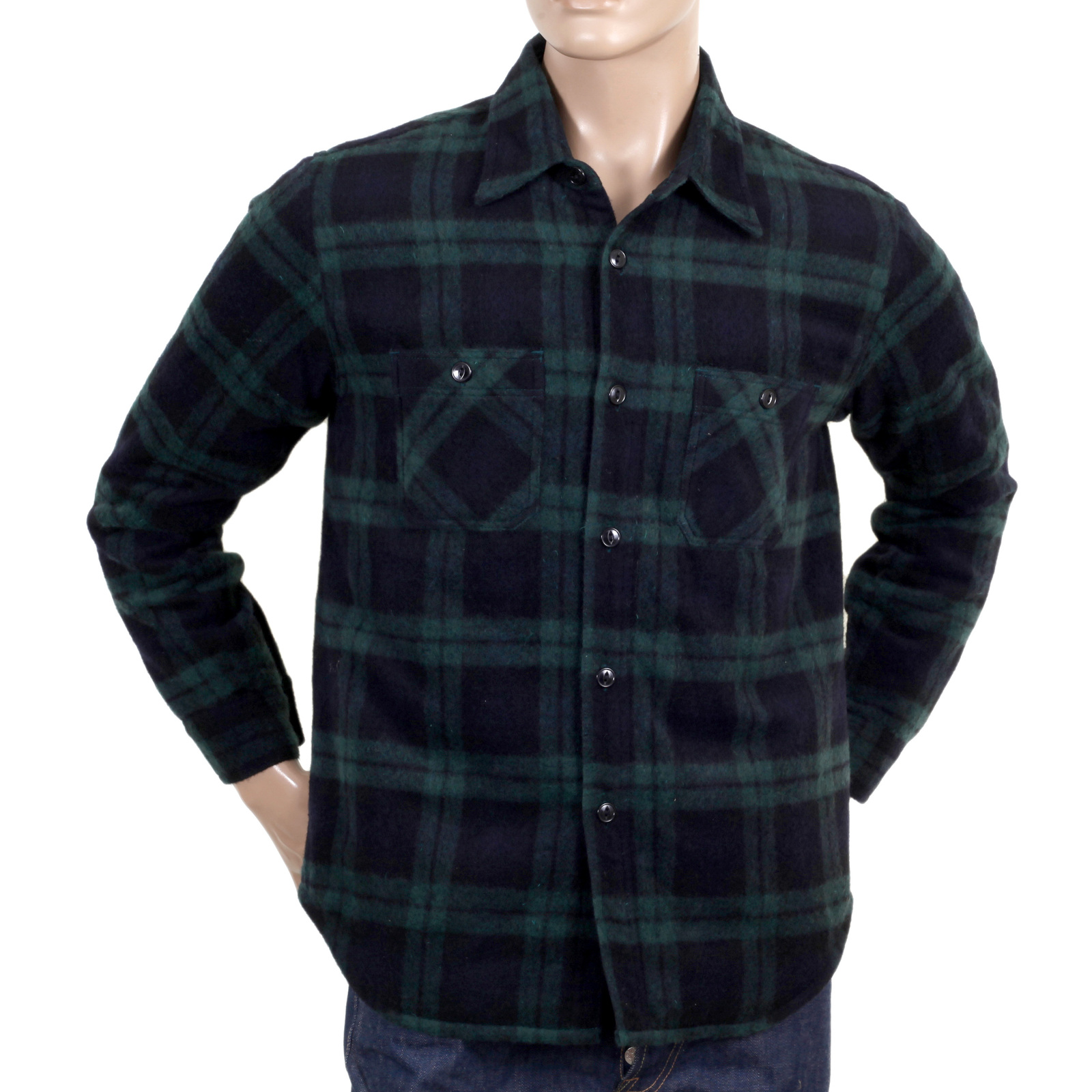 6a70982bb2d Green Wool Mix SC13178 Long Sleeve Polyester Filled Checked CPO Overshirt  with Quilted Inner Lining CANE4464