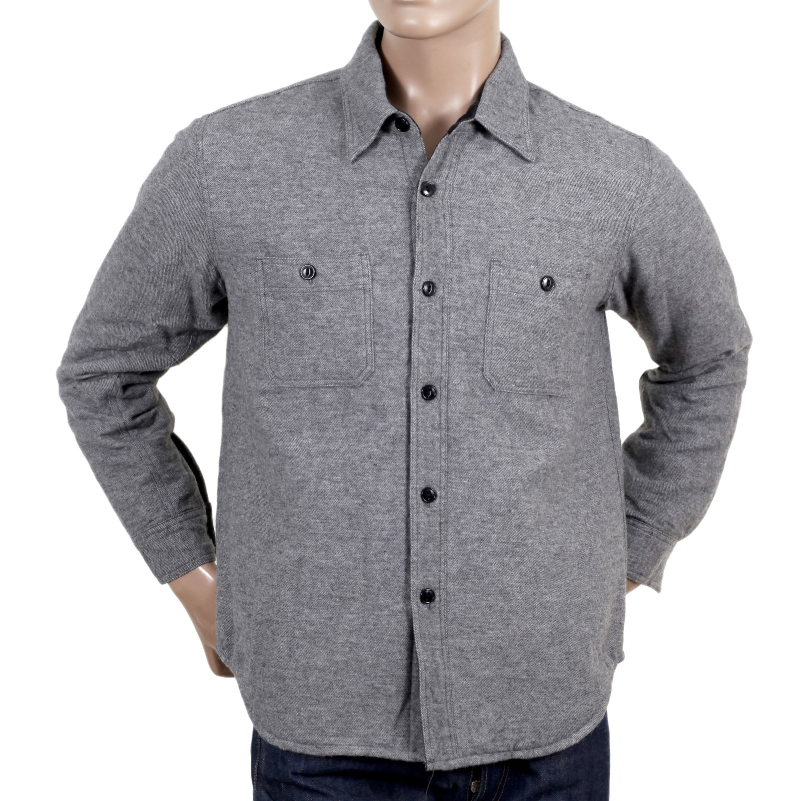 f16fe4b26f0 SugarCane Grey Wool Mix Quilted Regular Fit SC13177 CPO Overshirt with 2  Chest Pockets and Round