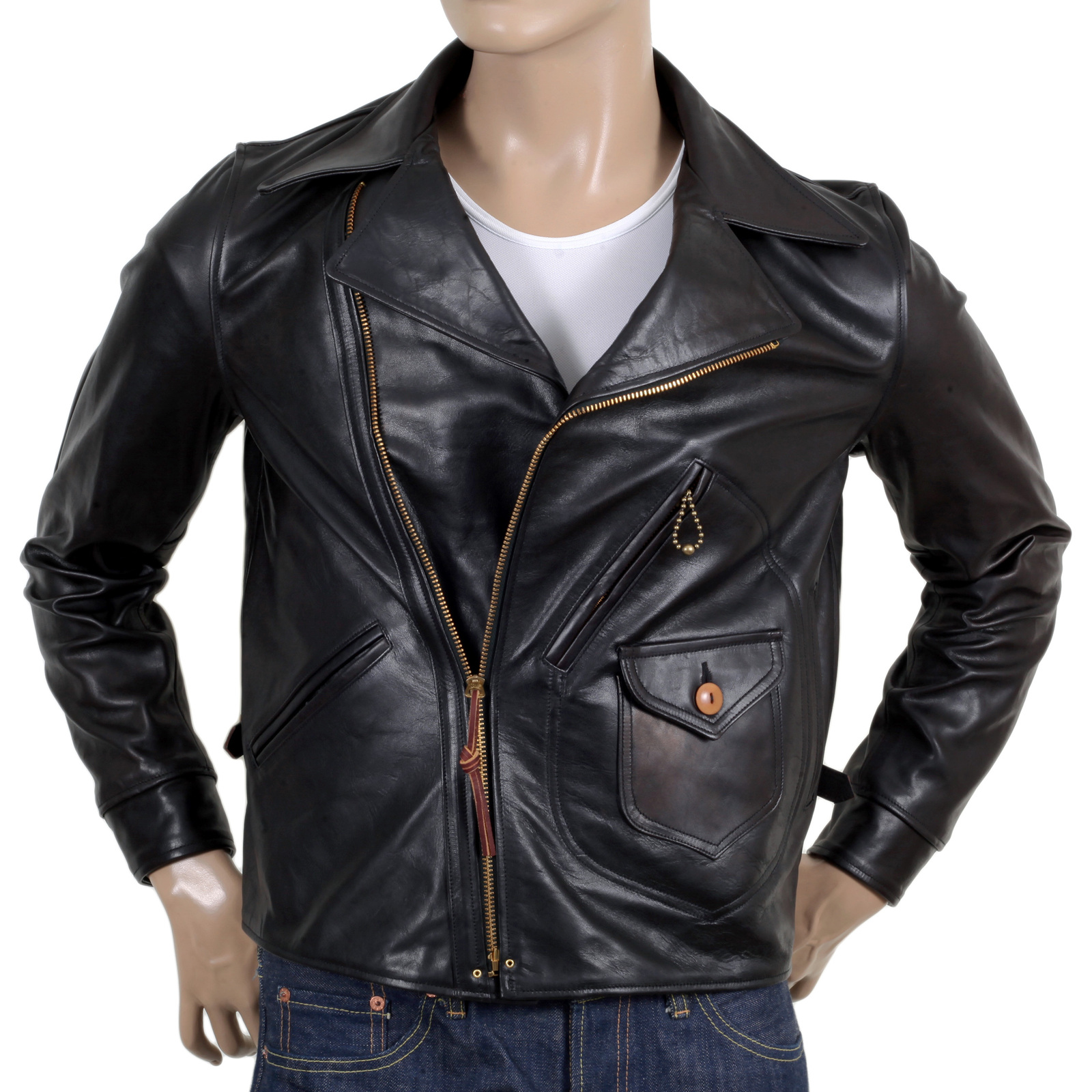 0203ac9bf92 Sugar Cane Aviator Horsehide SC80435 Heavy Weight Black Leather Jacket for  Men CANE5802