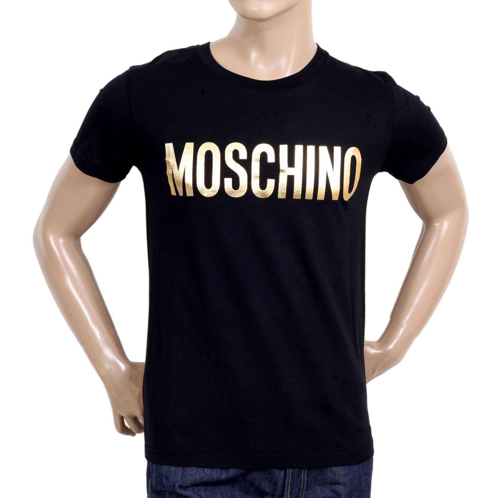 gold logo printed tshirt in black by moschino at togged. Black Bedroom Furniture Sets. Home Design Ideas