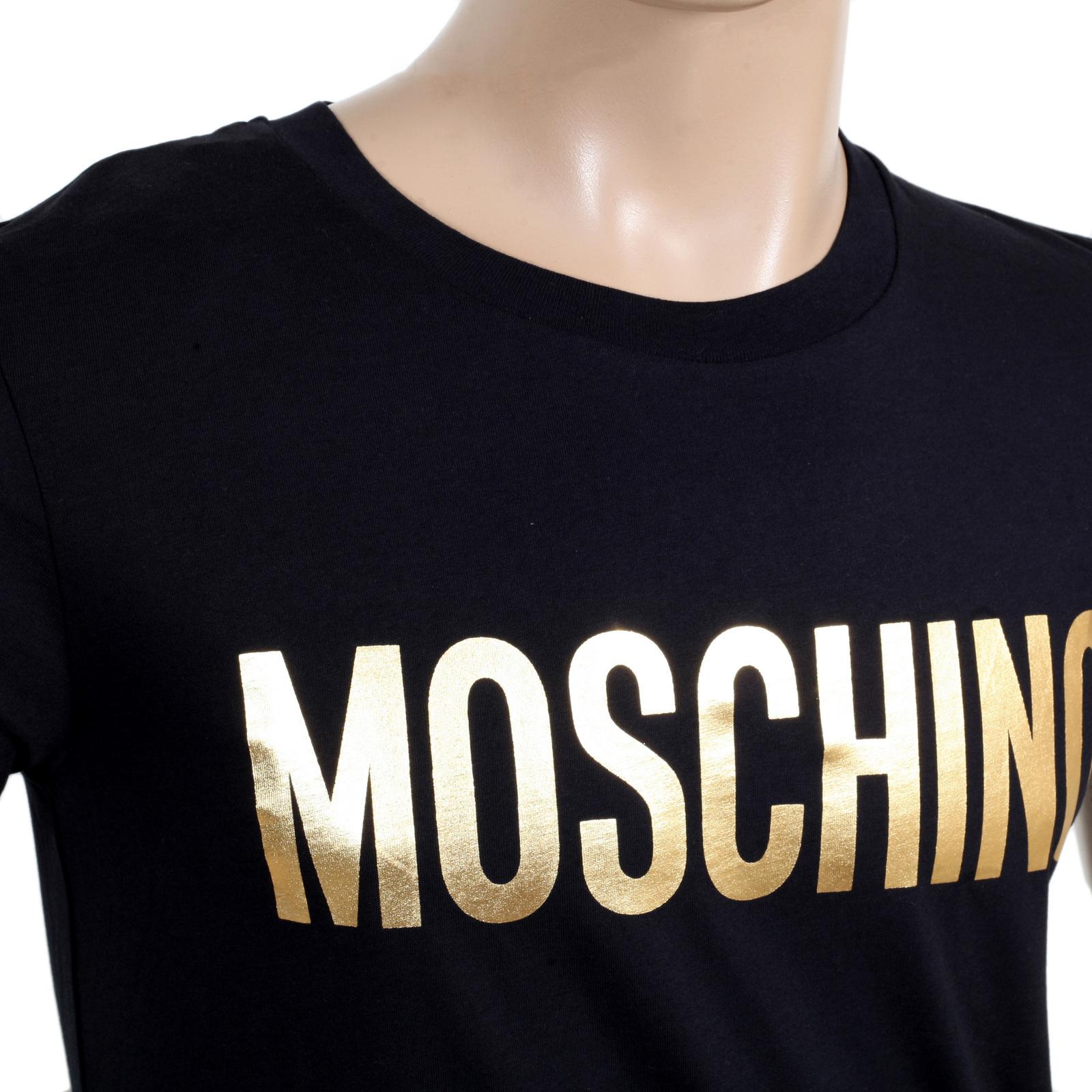 d422cc93f Moschino Black Crew Neck Gold Text Logo Printed T shirt for Men MOSM5338