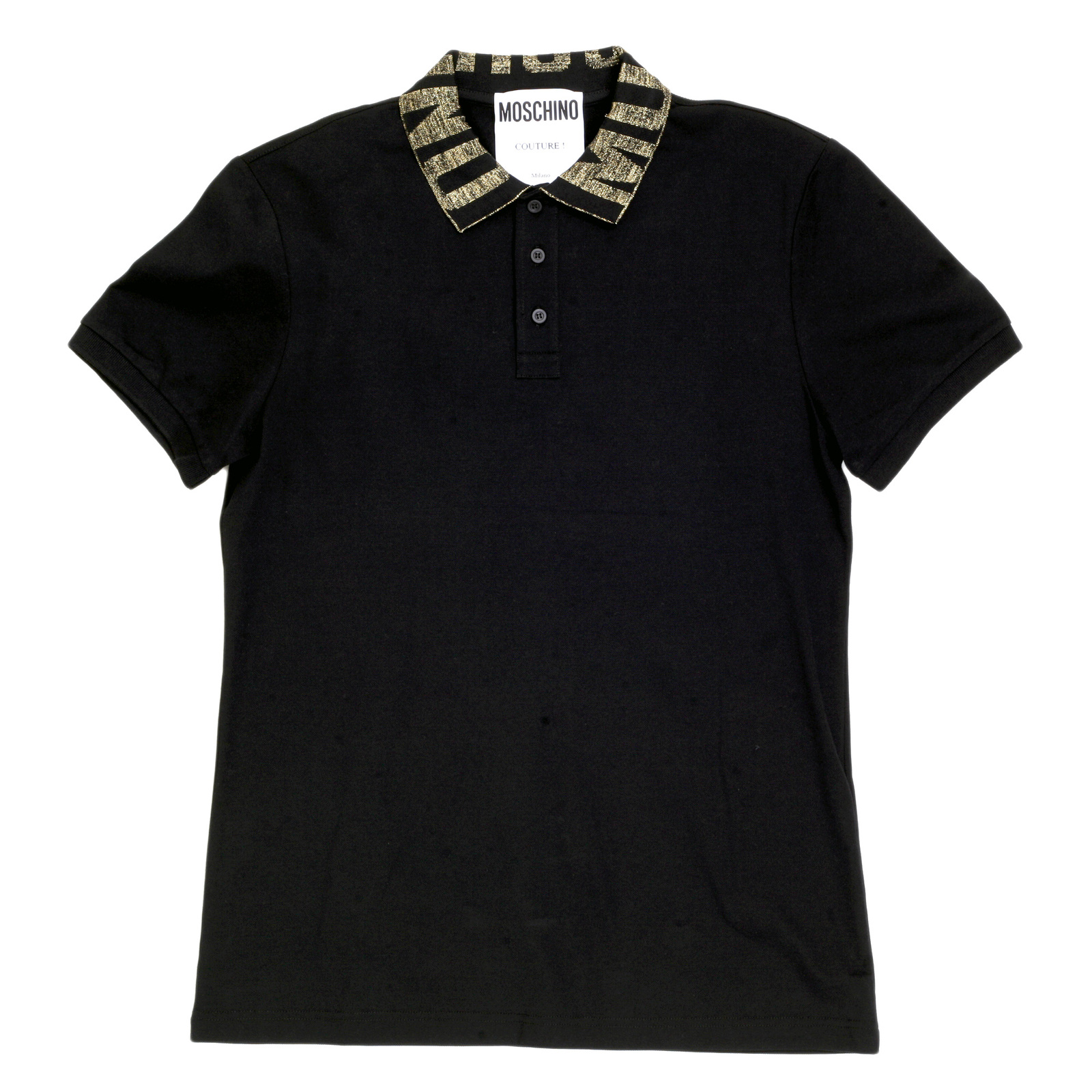 hot sale online 9895c cb5ba Mens Black Three-Buttoned Regular Fit Polo Shirt with Gold Logo Ribbed  Collar by Moschino MOSM5343