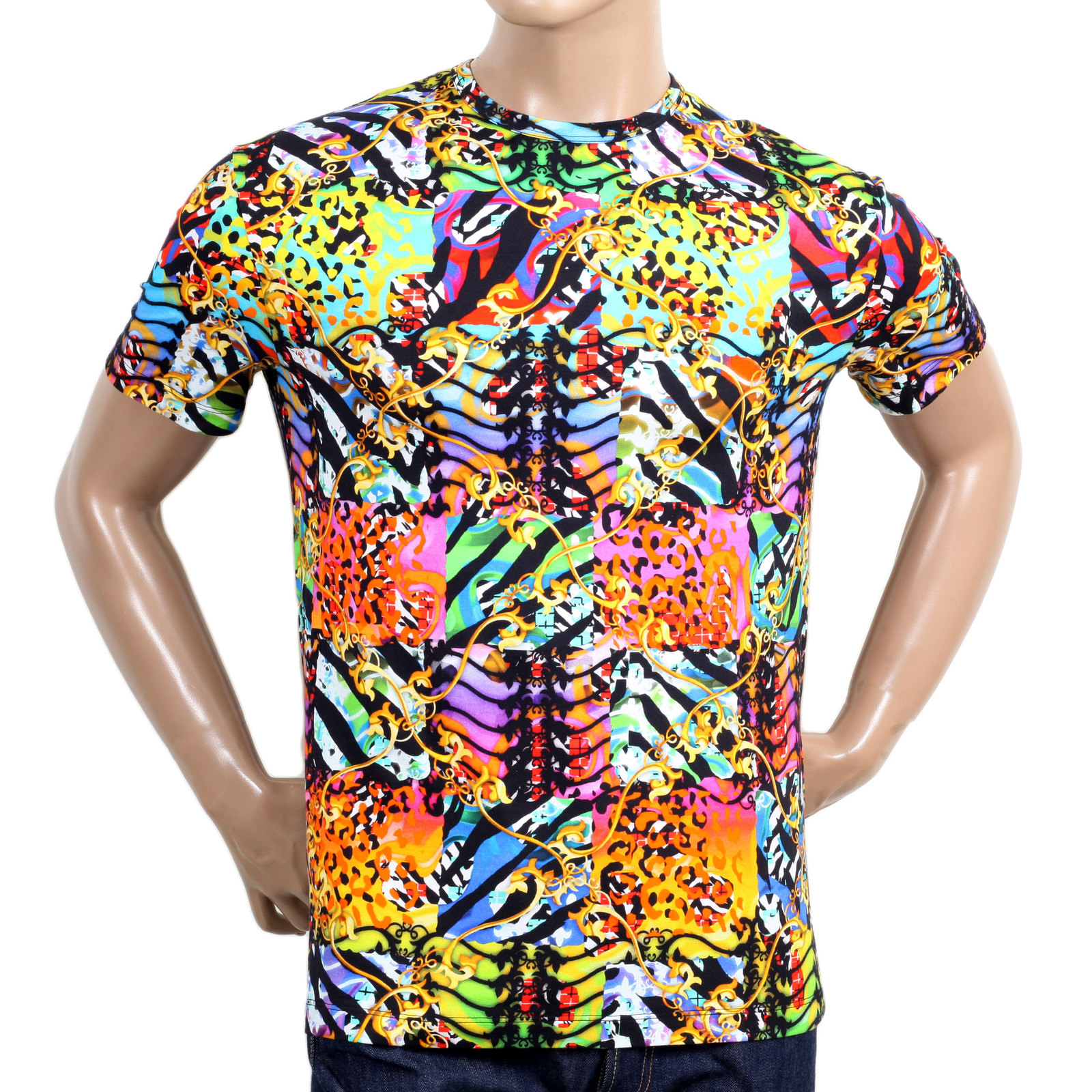 Stylish t shirt with prints in multi colour by versace for Colour t shirt printing