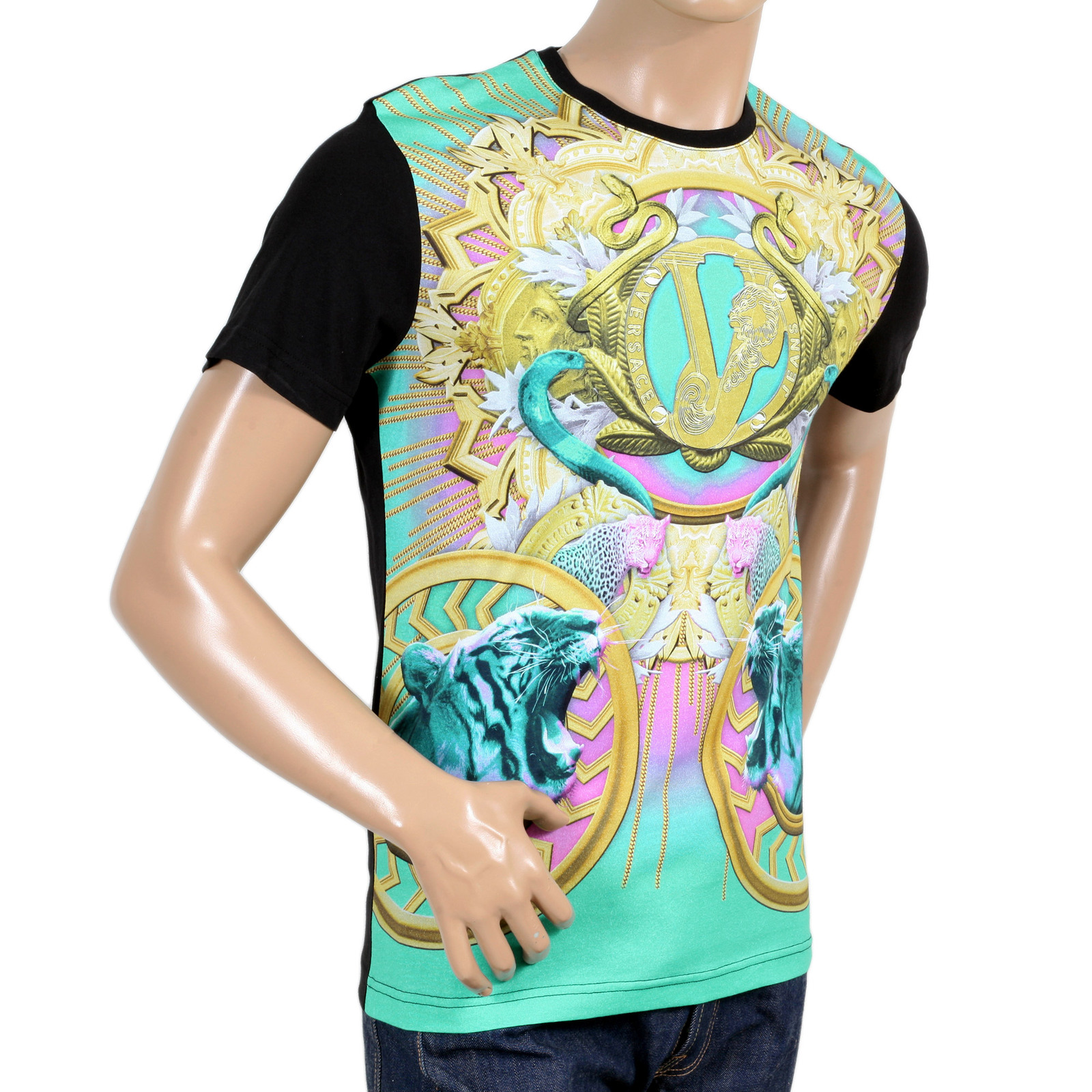 867c23a1c Versace Black Regular Fit Crew Neck Short Sleeve T Shirt for Men with Printed  Coloured Tiger