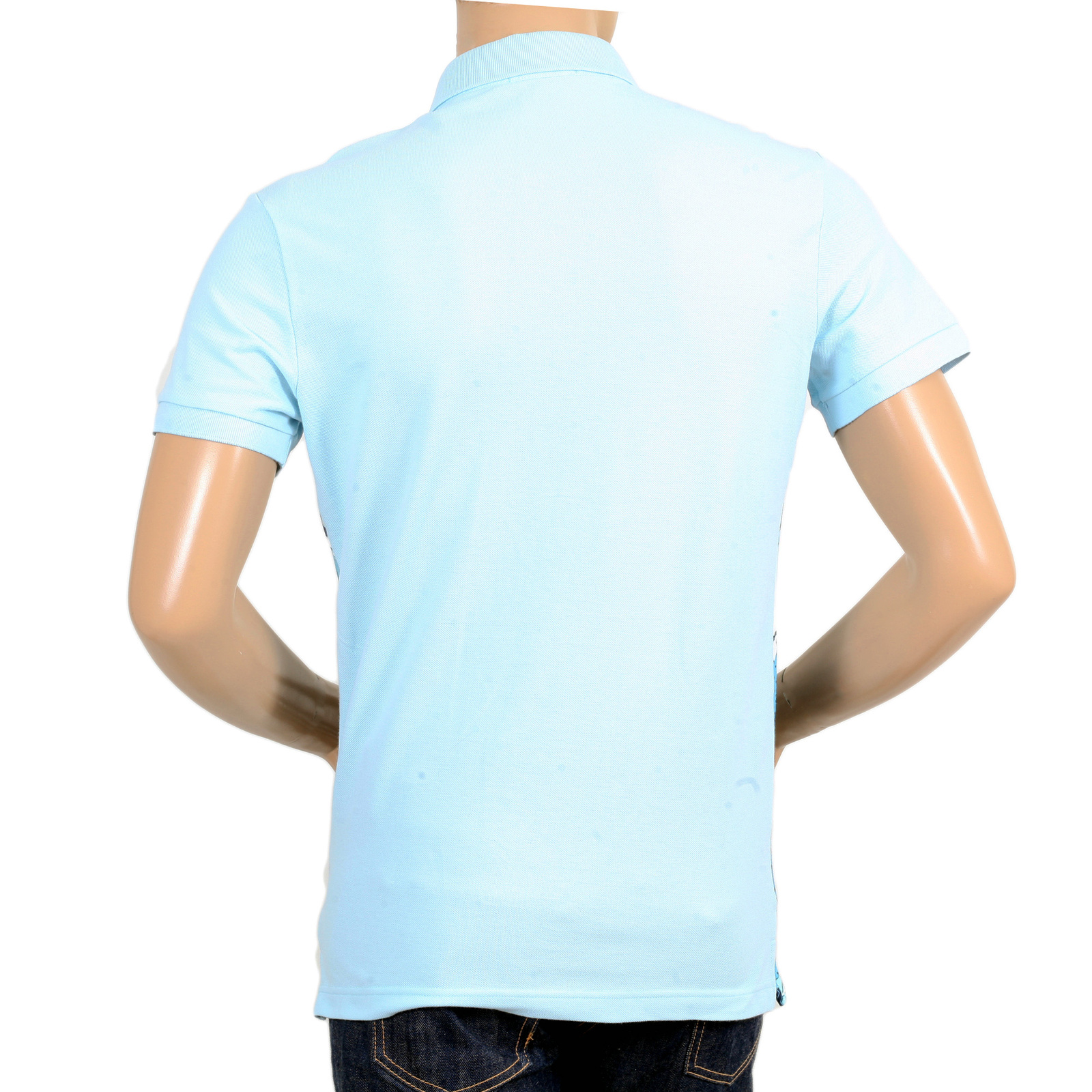 943db988 Mens Olympus Printed Blue Polo Shirt with 3 Button Placket and Plain Sky  Blue Back by Versace Jeans VERS6166