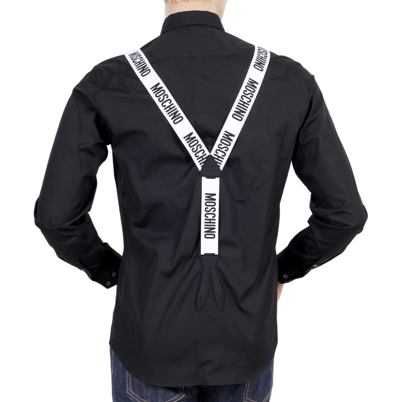 Black t shirt with white collar - Moschino Long Sleeve Black Slim Fit Shirt With Faux Braces In White Mosm4801