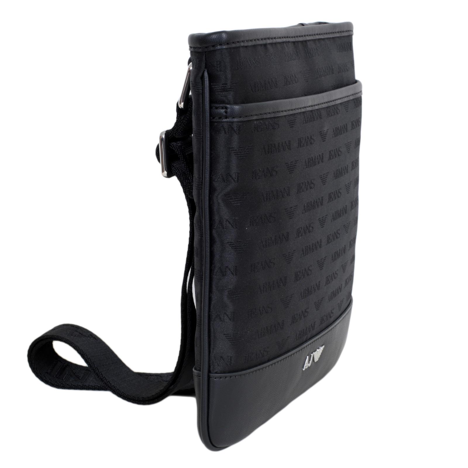 Armani Jeans Top Zip Closure Front Pocket Black Bag with Jacquard Monogram  and Eagle Logo AJM6476 9200c59d64ff1