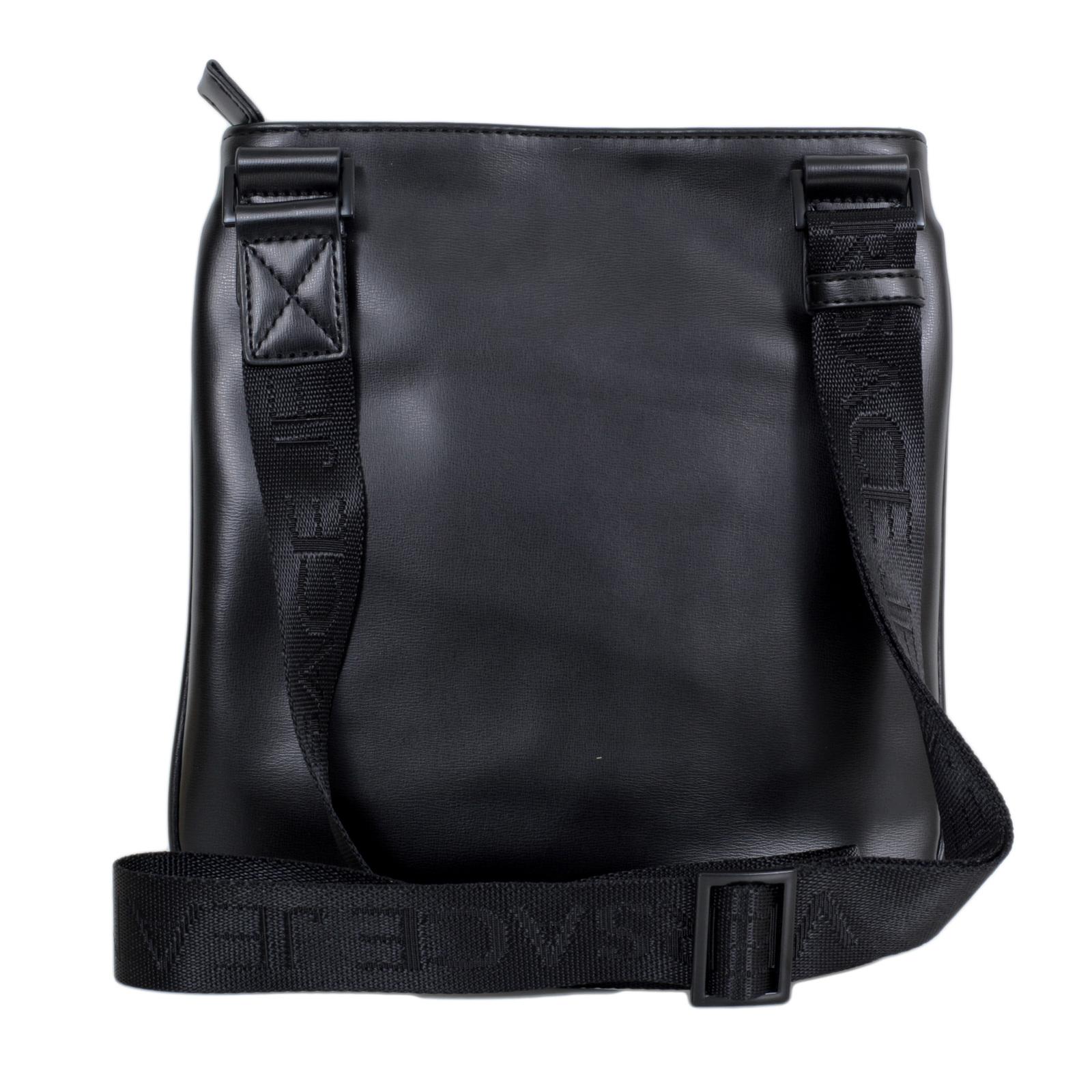7e3ede46 Versace Jeans Nastro Logato E1YOBB32 Top Zip Closure Black Bag with Logo  Front Panel and Pocket VJCM6702