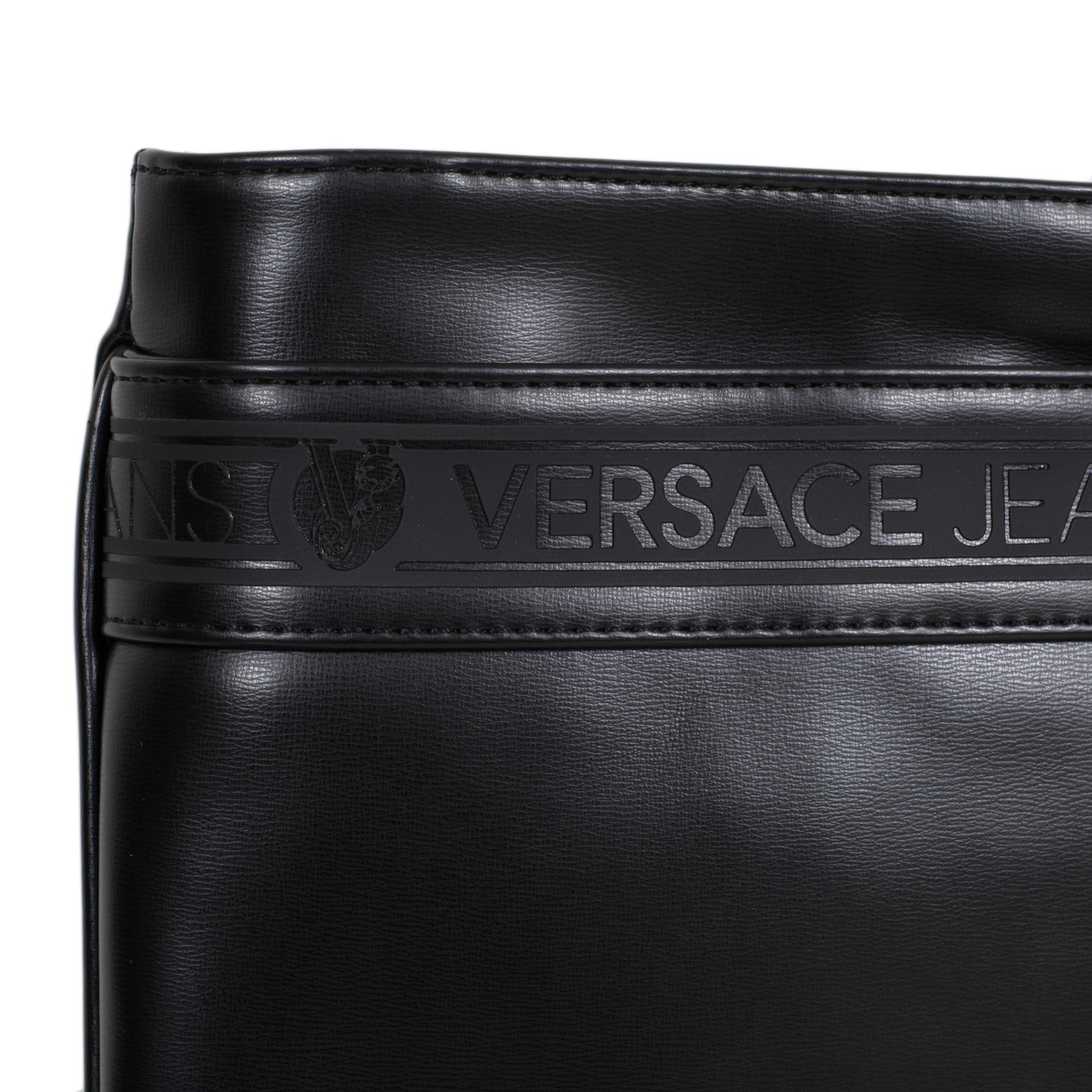 eca3bb2255df Versace Jeans Nastro Logato E1YOBB32 Top Zip Closure Black Bag with Logo  Front Panel and Pocket