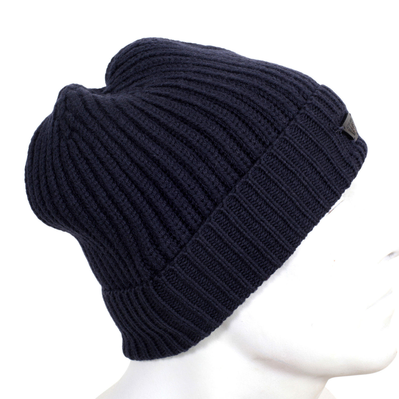 Armani Jeans 934029 6A757 Navy 100% Wool Knit Ribbed Beanie Hat with  Signature Logo Applique 9adb1c6f6ce