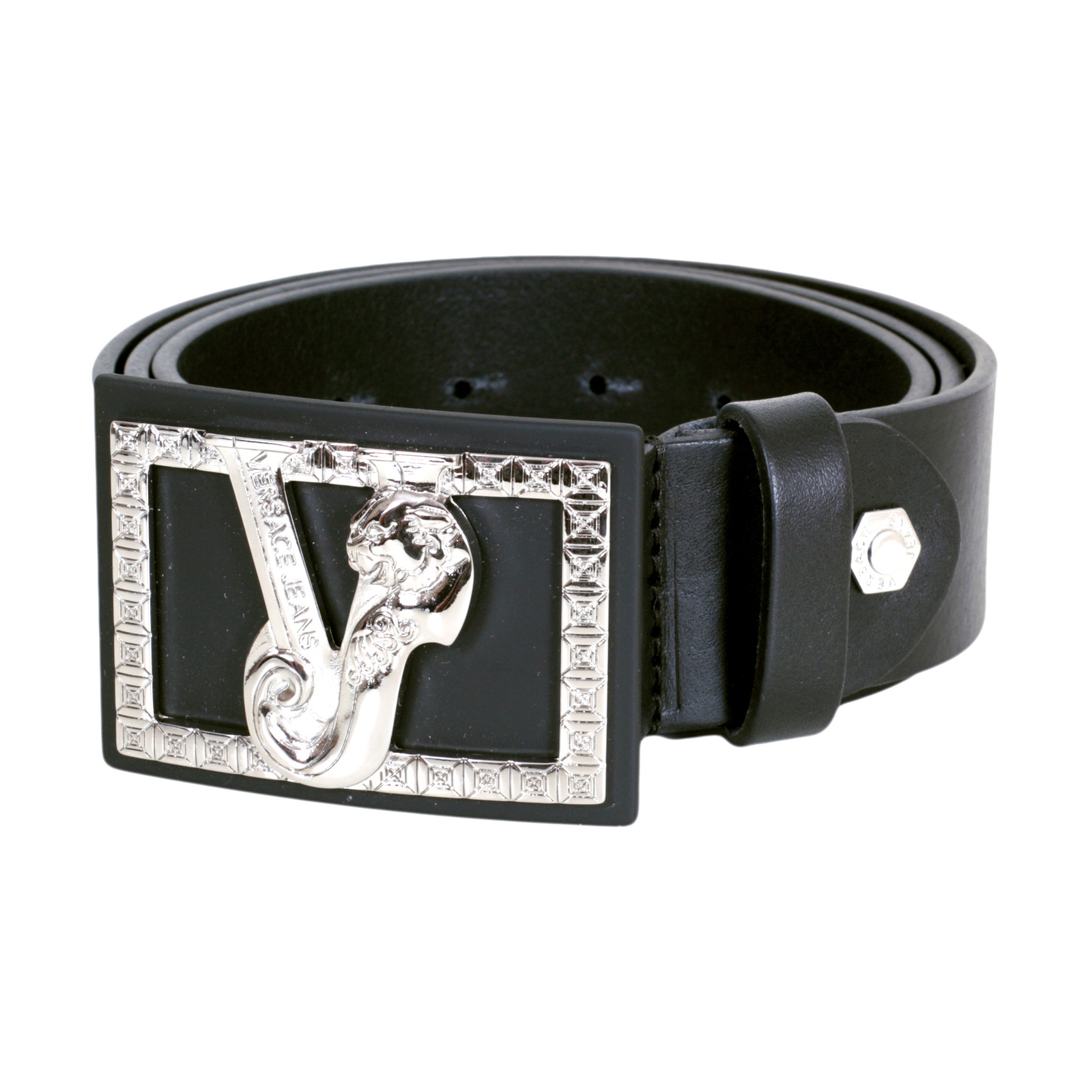 black leather waist belts for men by versace clothing. Black Bedroom Furniture Sets. Home Design Ideas