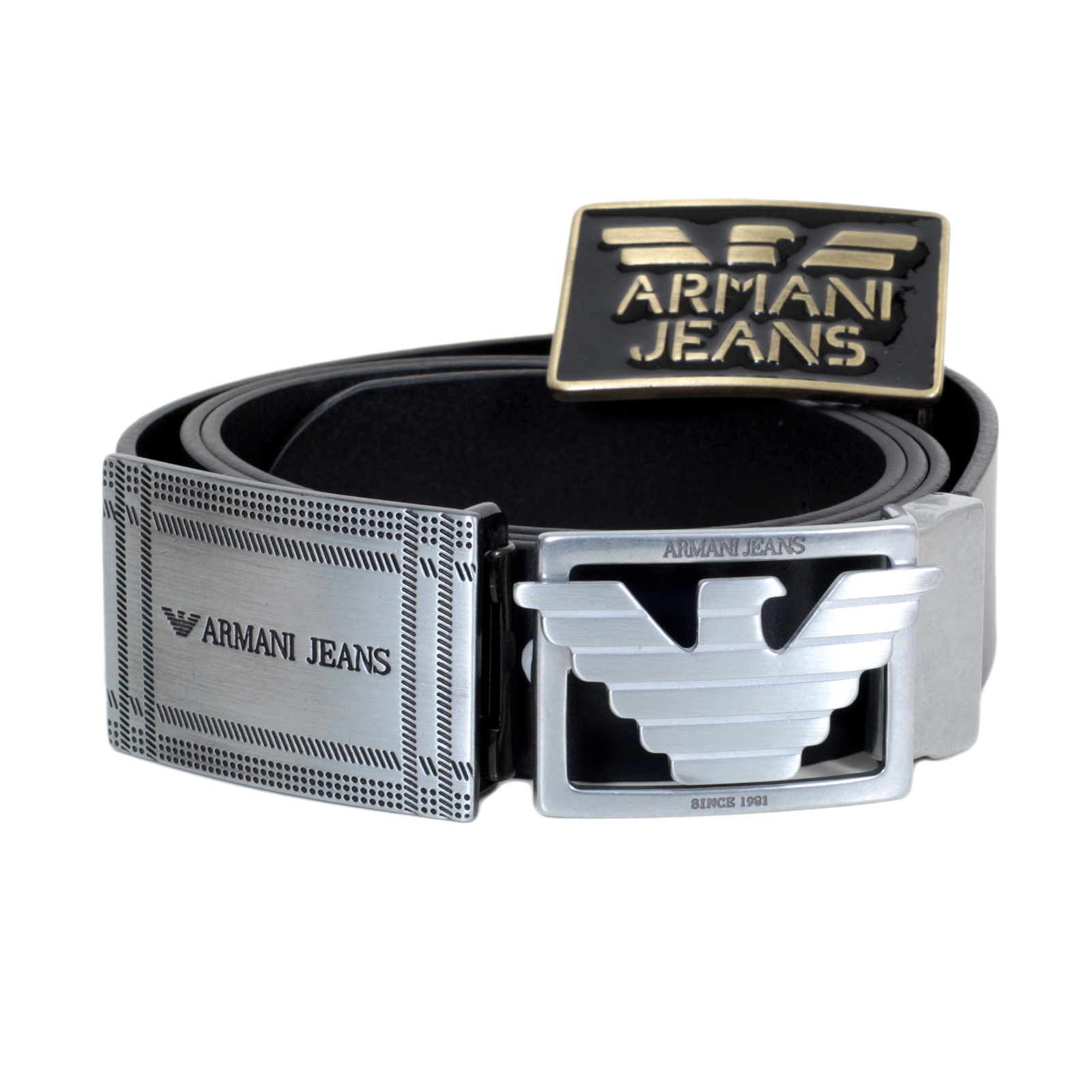 723da31c Armani Jeans Black Leather Belt with Smooth Leather Finish and 3  Interchangeable Buckles AJM6484